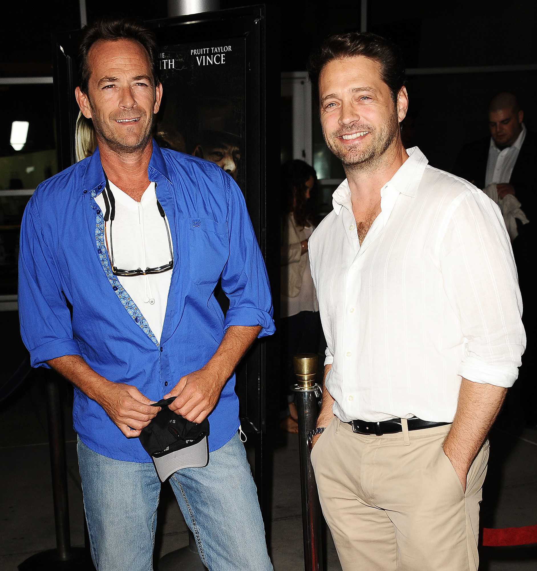 """Jason Priestly Breaks Silence After Luke Perry Death - Luke Perry and Jason Priestley attend the premiere of """"Dark Tourist"""" at ArcLight Hollywood on August 14, 2013 in Hollywood, California."""