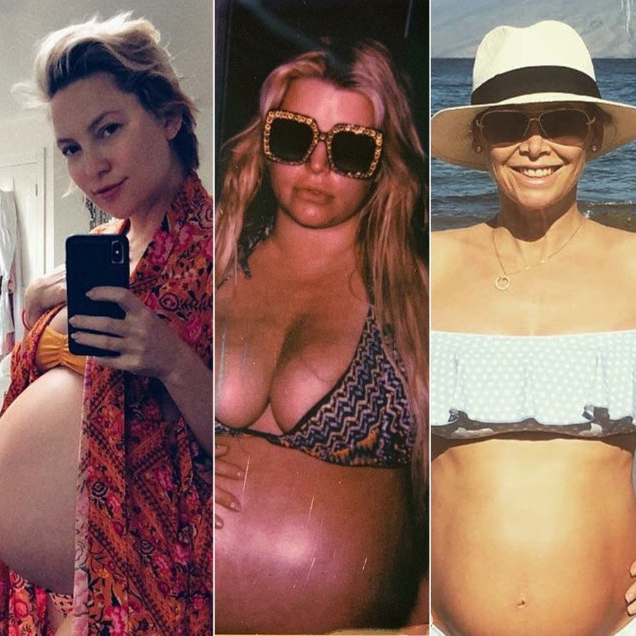 Jessica Simpson and More Pregnant Celebs Showing Off Third Trimester Baby Bumps in Bikinis