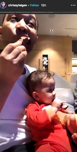 Twins! John Legend and Son Miles Adorably Eat Ribs Together