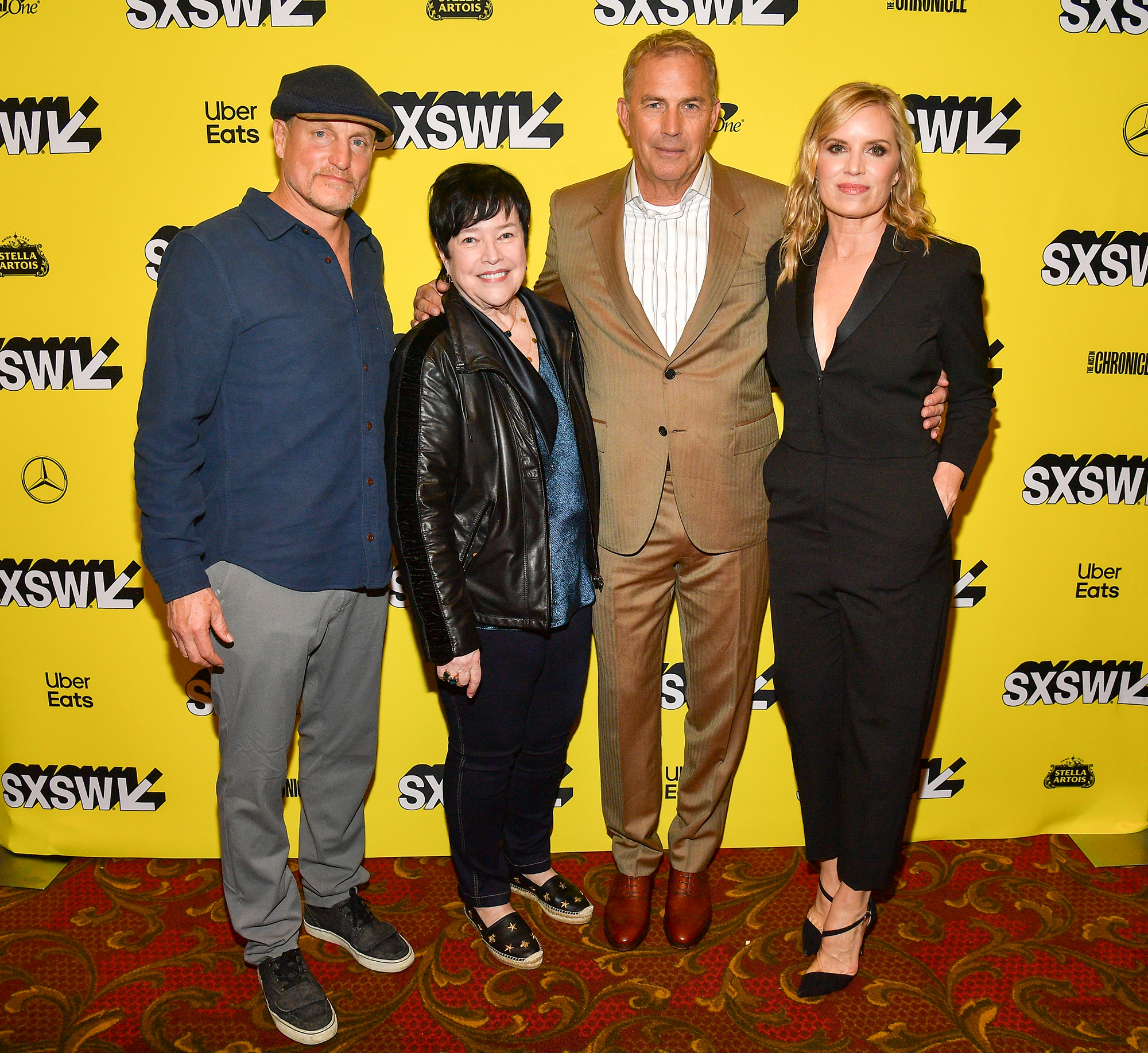 "Kathy Bates Is Loving Life 60 Lbs Lighter - Woody Harrelson, Kathy Bates, Kevin Costner, and Kim Dickens attend ""The Highway Man"" Premiere 2019 SXSW Conference and Festivals at Paramount Theatre on March 10, 2019 in Austin, Texas."