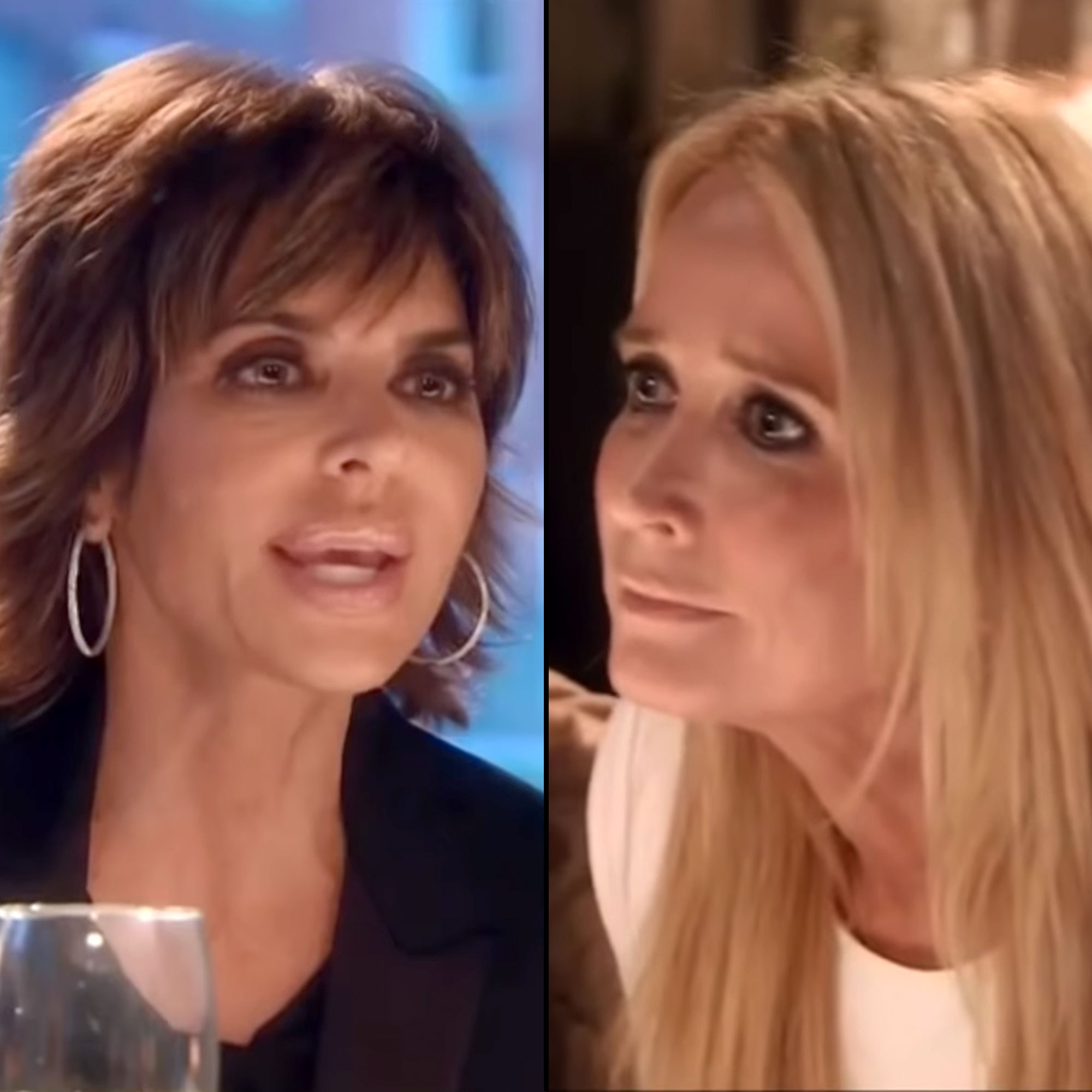 """Lisa Rinna's Most Savage Comebacks - The TV personality went off during a March 2015 episode of The Real Housewives of Beverly Hills when Kim claimed to have dirt on Rinna's husband, Harry Hamlin . """"Let me tell you something: Don't touch my husband ever,"""" the Entourage alum screamed at her costar before tossing her drink and breaking a glass ."""