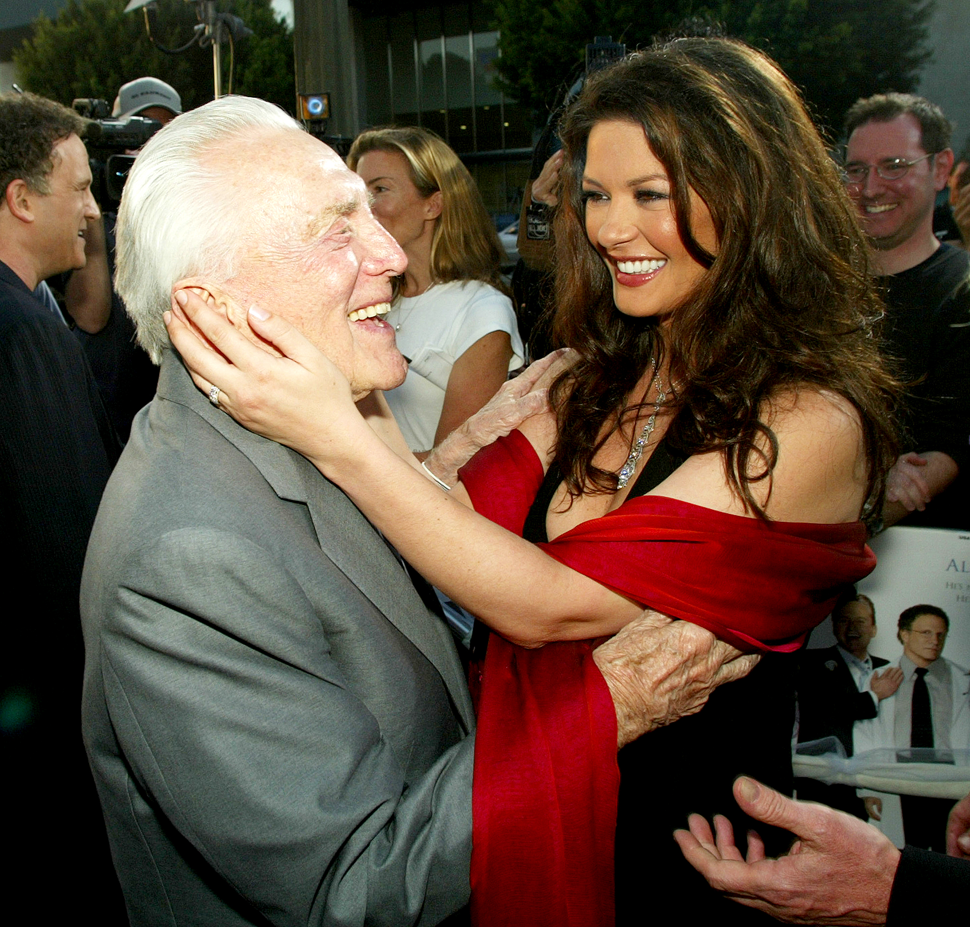 "Kirk-Douglas-Catherine-Zeta-Jones - The actress proudly presented at the 2018 Golden Globe Awards alongside her father-in-law as he received a standing ovation. Zeta-Jones later paid tribute to Douglas — she wed his son Michael Douglas in November 2000 — on his 102nd birthday, calling him ""the most beautiful man."""