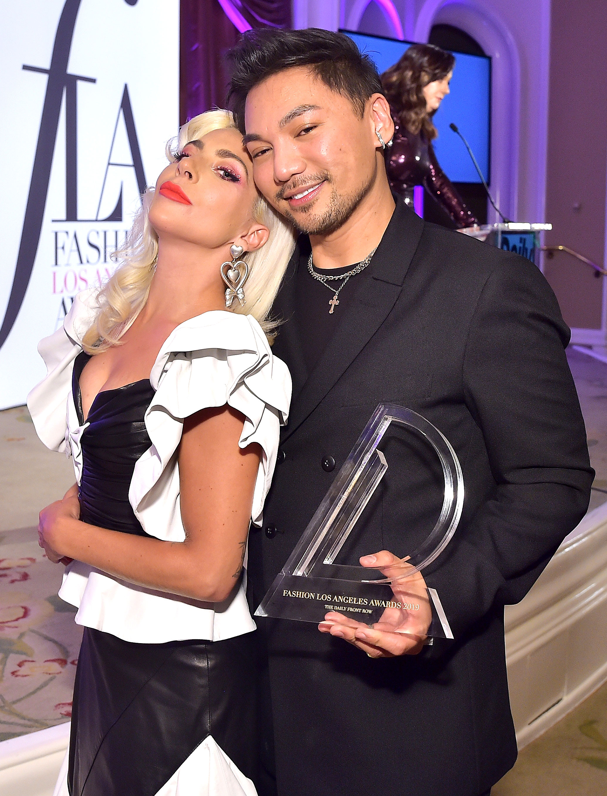 Lady Gaga Reveals Her Wig Secrets in Heartfelt Tribute to Her Hairstylist - Lady Gaga and Frederic Aspiras attend The Daily Front Row Fashion LA Awards 2019 on March 17, 2019 in Los Angeles, California.