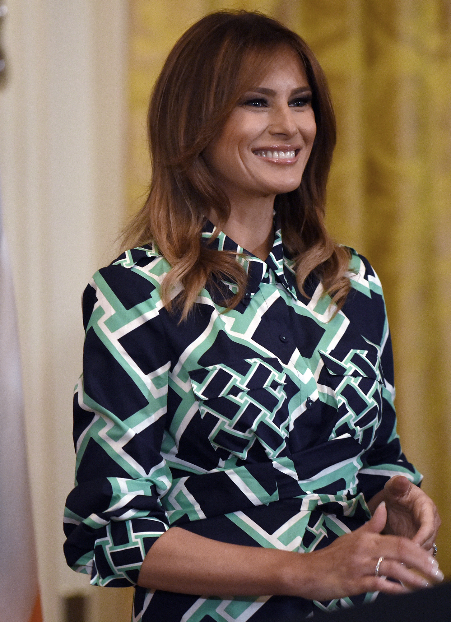 Melania Trump's Most Stylish Moments Since Taking on the FLOTUS Title - The First Lady looked festive in a green-accented Diane von Furstenberg shirt dress and matching Christian Loubtouin heels at a pre-St. Patrick's Day celebration at the White House.