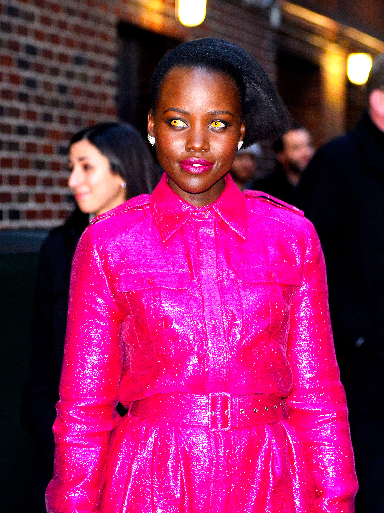 Lupita Nyongo Wears Gold Contact Lenses On The Late Show
