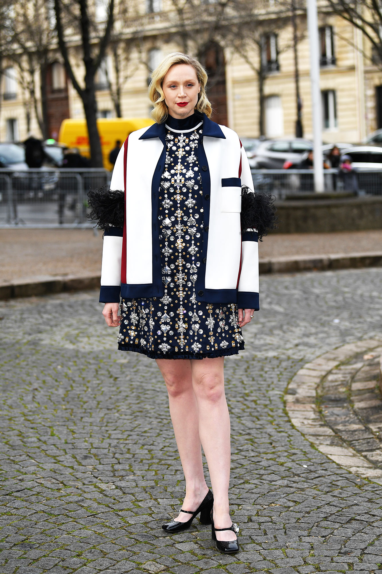 Gwendoline Christie Stars Continue to Wow on Day 9 of Paris Fashion Week - Winter was apparently not coming for the Game of Thrones star who skipped tights in favor of bare legs at the Miu Miu show on Tuesday, March 5.