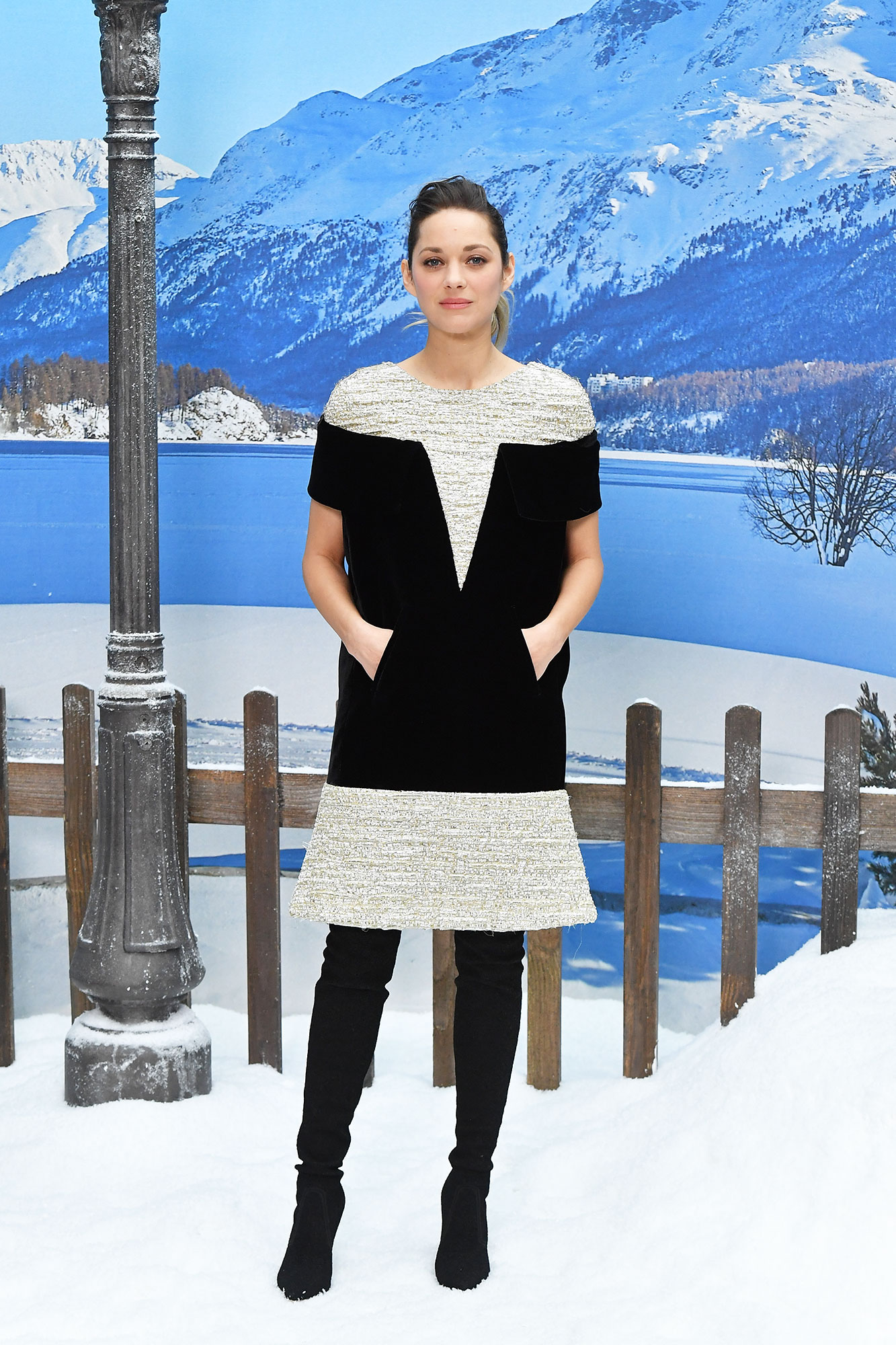 Marion Cotillard Stars Continue to Wow on Day 9 of Paris Fashion Week - The French beauty created the perfect illusion in her tweed mini that appeared to be two pieces at Chanel on Tuesday, March 5.