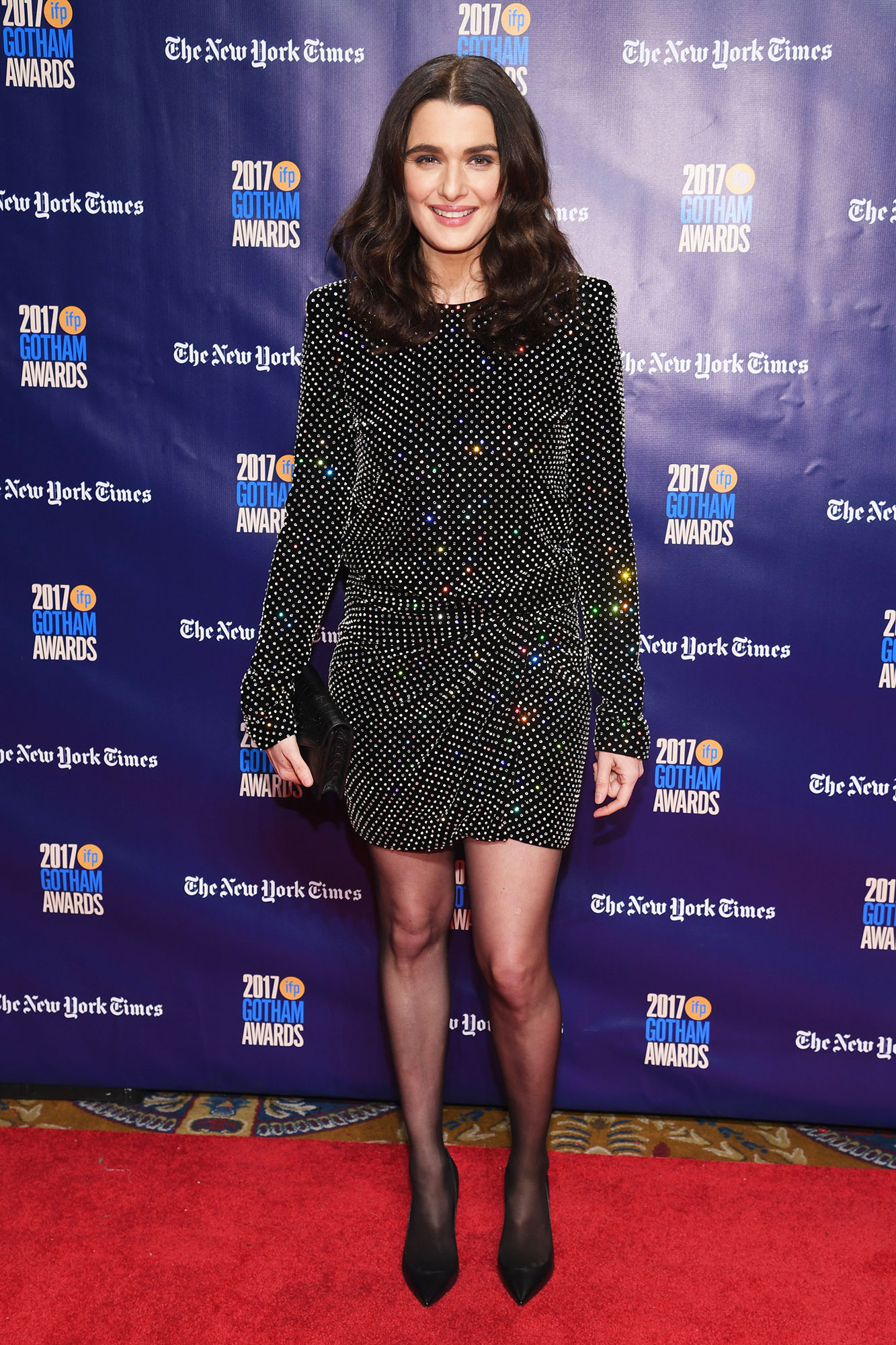 Happy Birthday, Rachel Weisz! See Her Hottest Red Carpet Looks - Opting for a mini, the actress wore a mirror-embellished Saint Laurent dress to the Gotham Independent Film Awards in 2017.