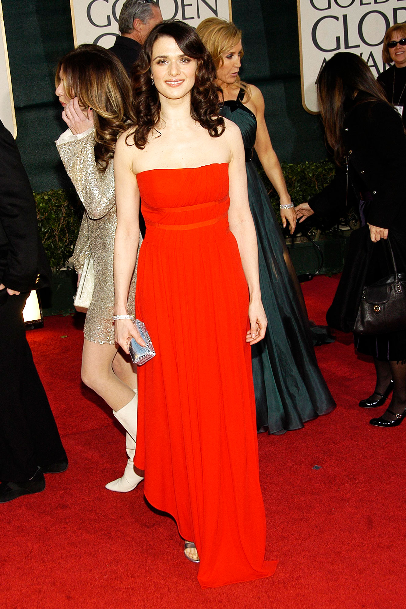Happy Birthday, Rachel Weisz! See Her Hottest Red Carpet Looks - Going back to her minimalist roots, the brunette beauty wore a red floor-length strapless gown to the 2007 Golden Globes.