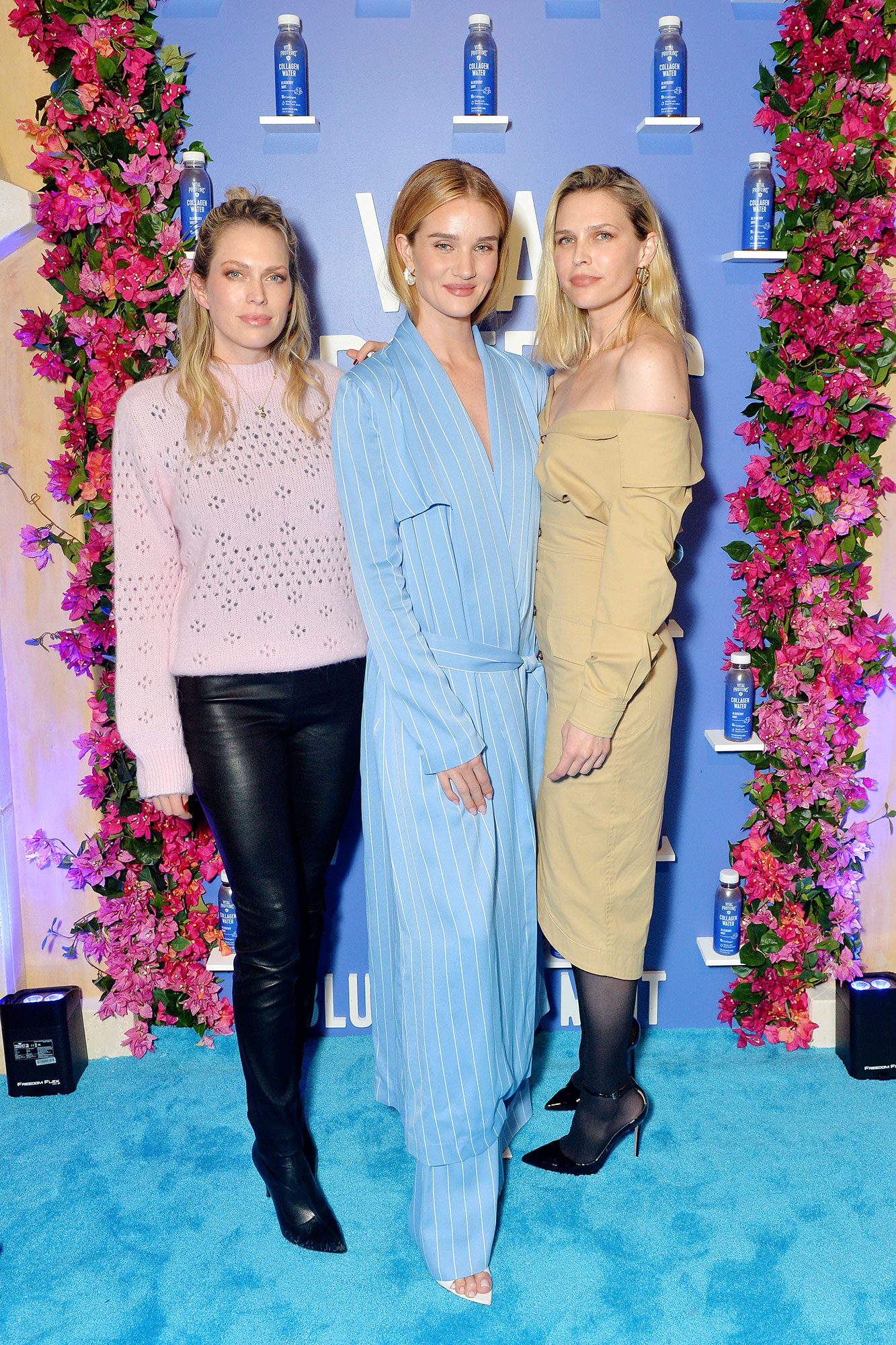 Stars Who Swear by the Celery Juice Wellness Trend: Pharrell Williams, Jenna Dewan and More - (L-R) Sara Foster, Rosie Huntington-Whiteley and Erin Foster attend Vital Proteins Collagen Water Product Launch Event on March 06, 2019 in Irvine, California.