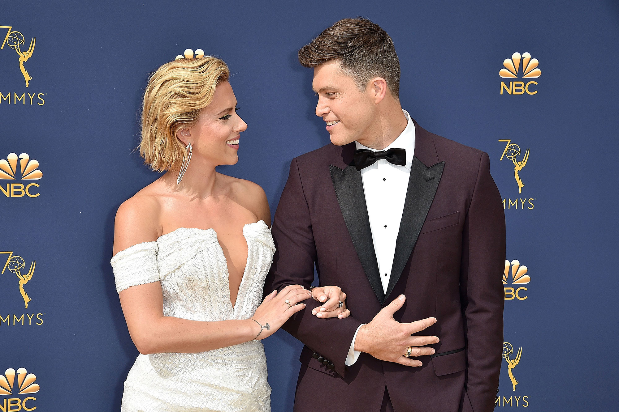 Colin Jost Who? Scarlett Johansson Jokes She's Dating Her Doorman - Scarlett Johansson and Colin Jost attend the 70th Emmy Awards – Arrivals at Microsoft Theater on September 17, 2018 in Los Angeles, California.