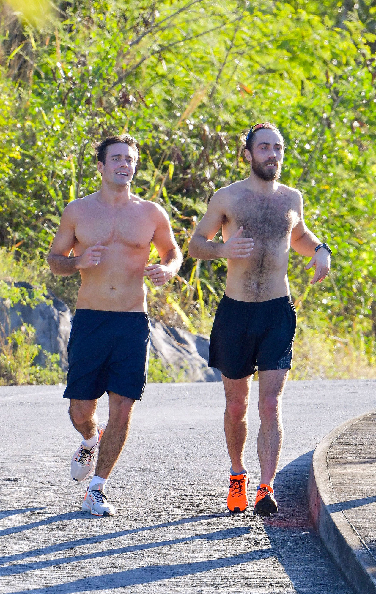Spencer Matthews and James Middleton Celebrity Joggers - The brothers-in-law who jog together, stay together! The Made in Chelsea alum (left) and Pippa Middleton's younger brother worked out while on vacation in St. Barts on December 30, 2018.