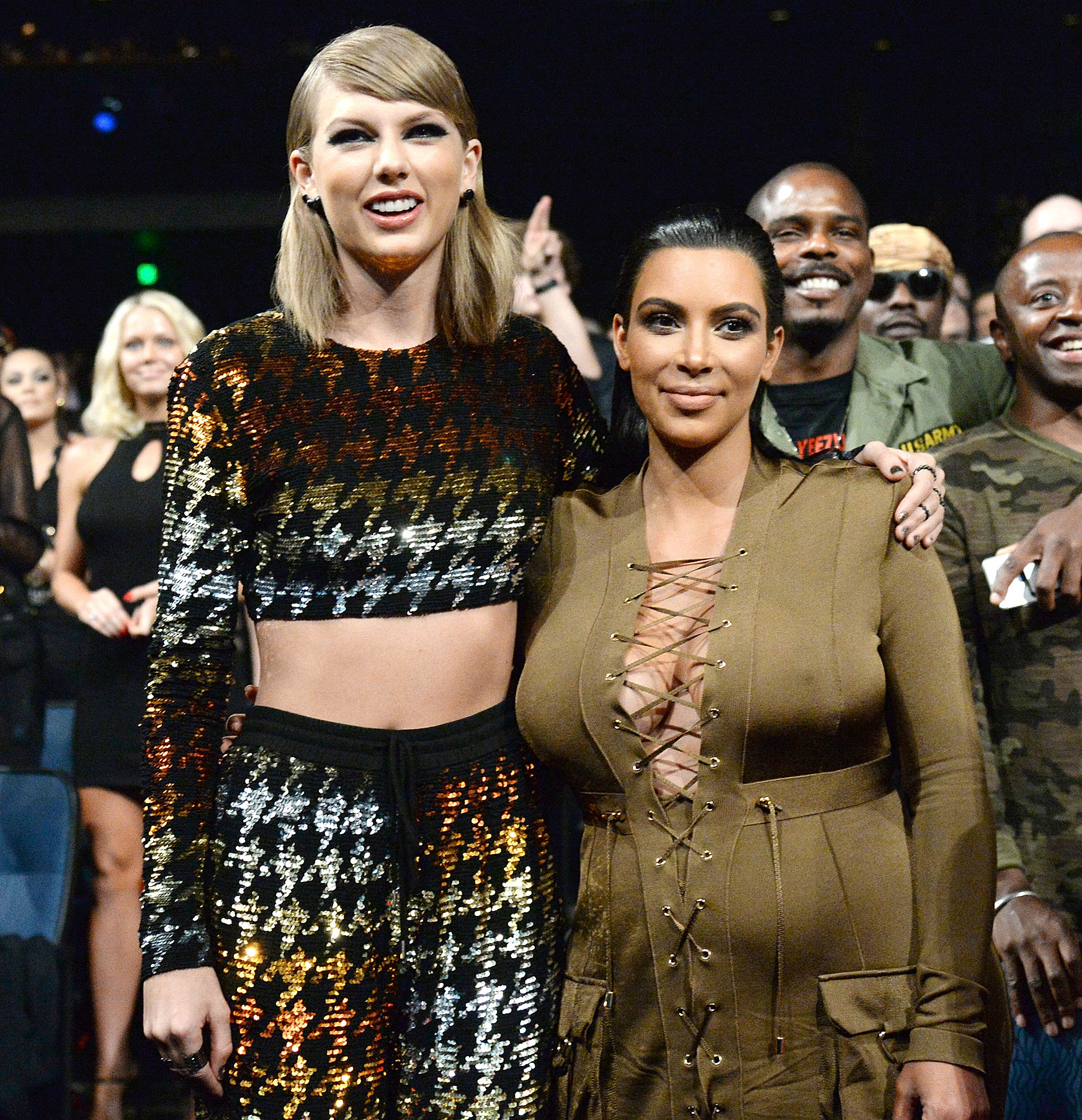 Taylor Swift ELLE Kim Kardashian Feud - Taylor Swift and Kim Kardashian West attend the MTV Video Music Awards at Microsoft Theater on August 30, 2015 in Los Angeles.