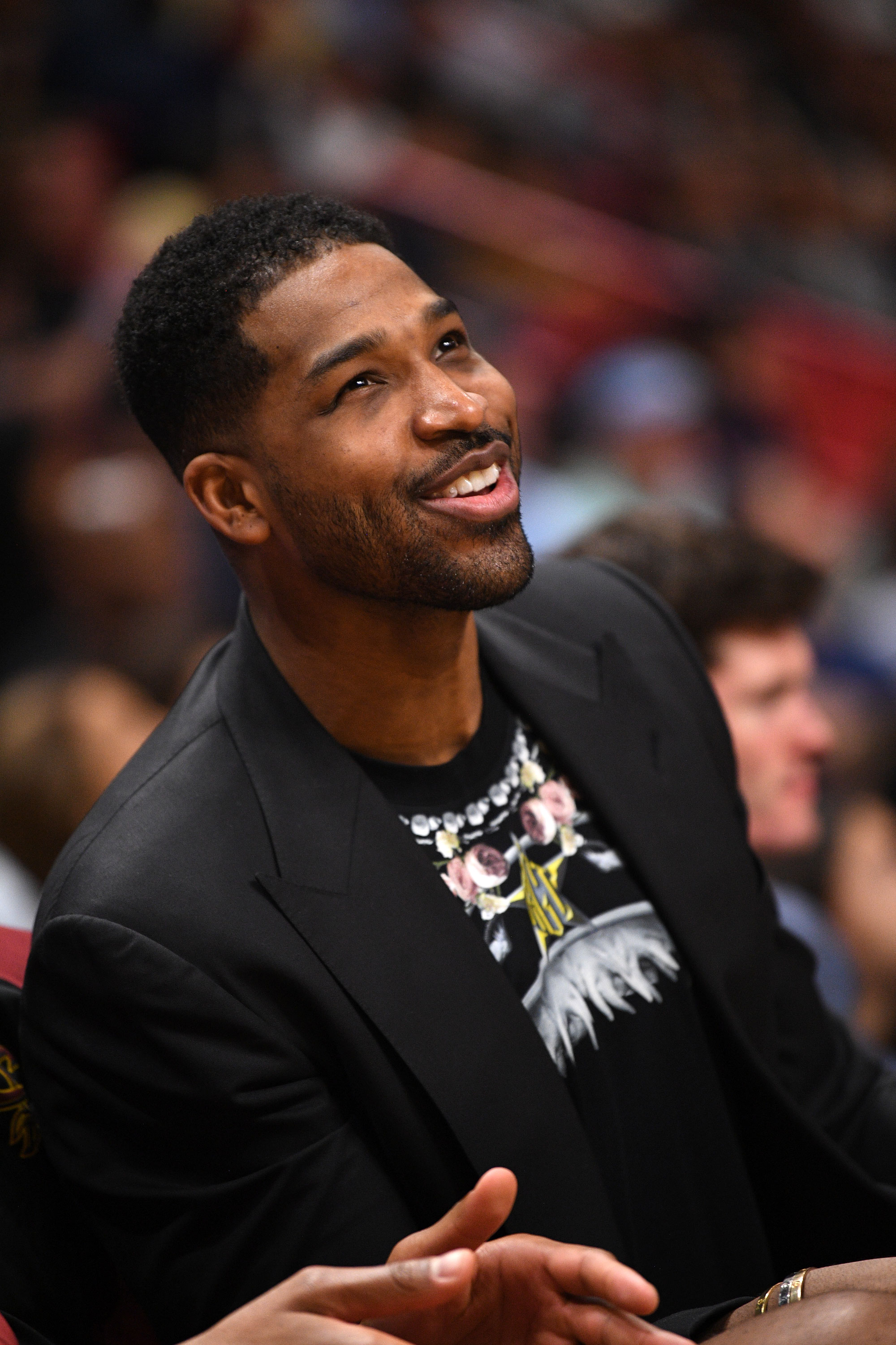 Tristan Thompson All Smiles at Cavaliers Game in Miami: Pics - Kardashian's family has remained mum on the subject, but they have backed the Revenge Body host by unfollowing Thompson on social media .