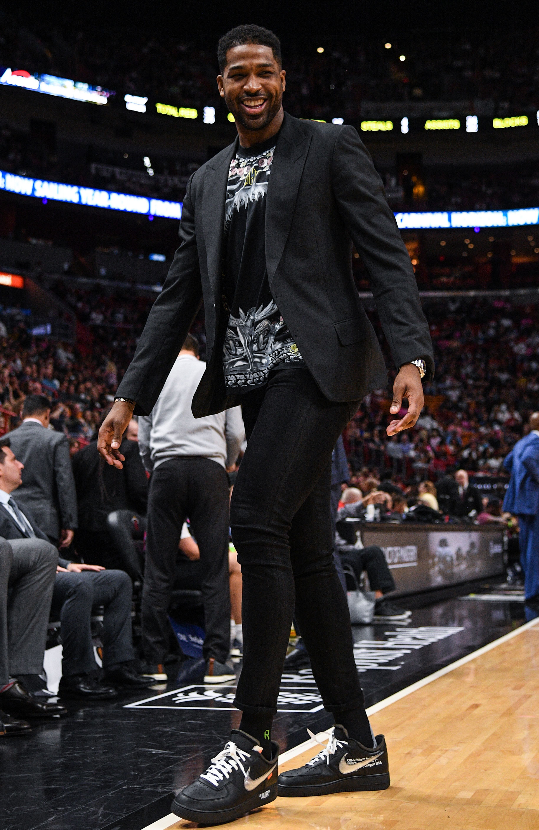 Tristan Thompson All Smiles at Cavaliers Game in Miami: Pics - Tristan Thompson of the Cleveland Cavaliers on the bench during the in the first half against the Miami Heat