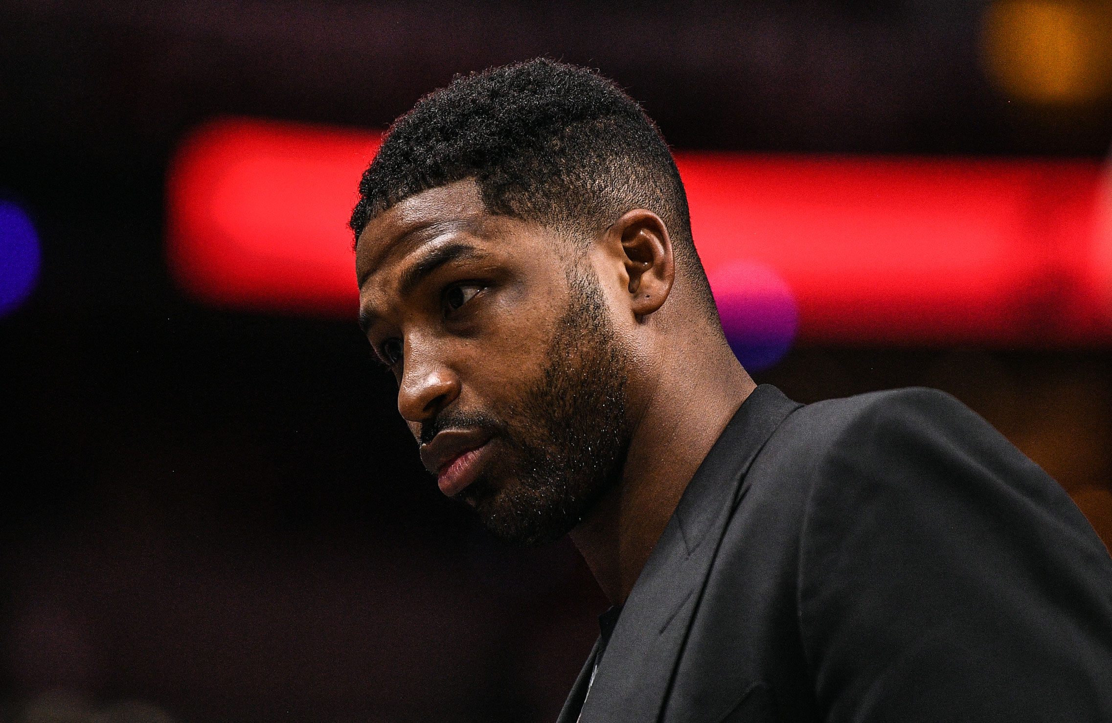 Tristan Thompson Listens to Song About Taking 'Secrets' to the 'Grave' - Tristan Thompson of the Cleveland Cavaliers on the bench during the in the first half against the Miami Heat at American Airlines Arena on March 8, 2019