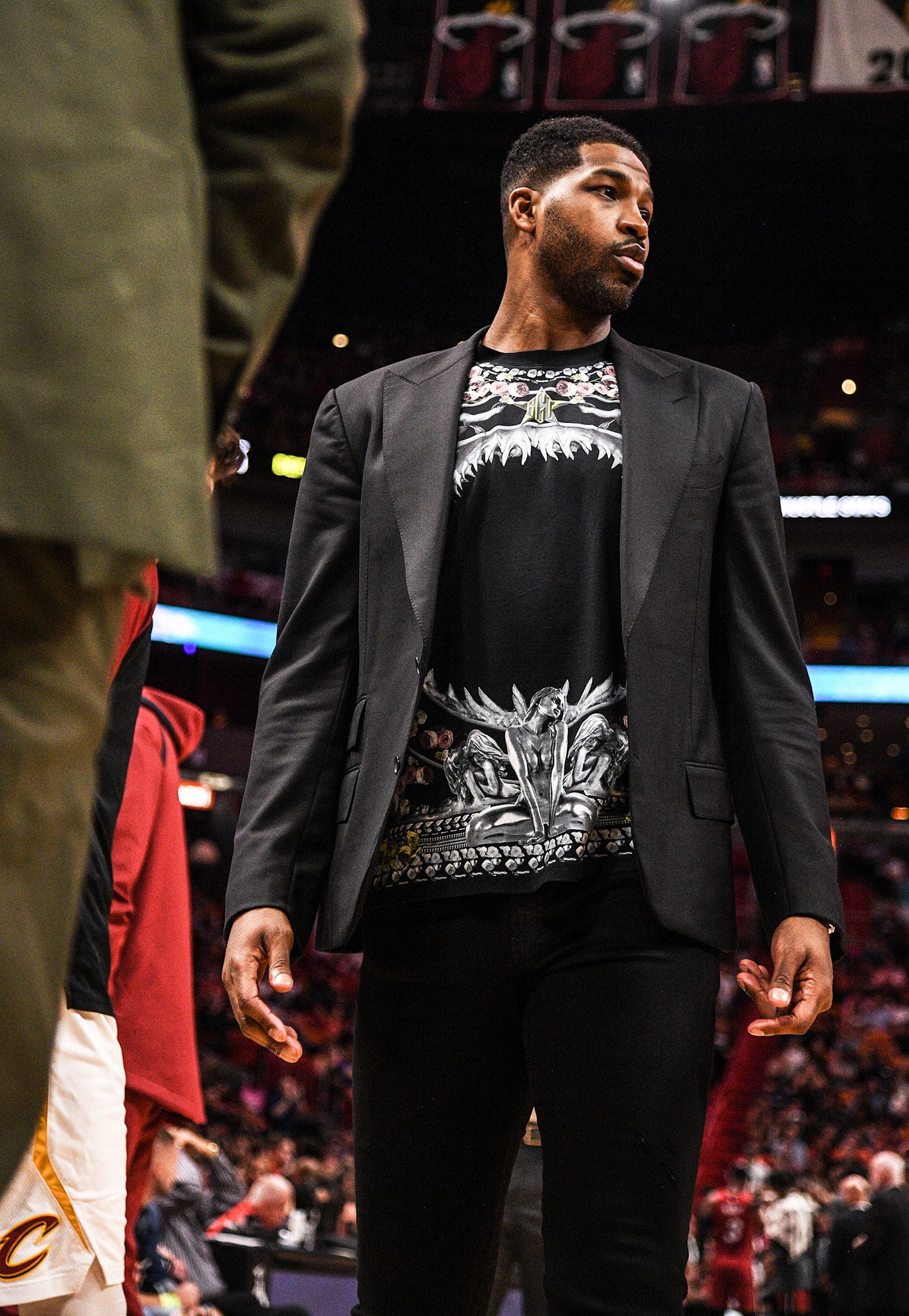 Jordyn Woods Returns to Work a Month After Tristan Thompson Cheating Scandal - Tristan Thompson of the Cleveland Cavaliers on the bench during the in the second half against the Miami Heat at American Airlines Arena on March 8, 2019 in Miami, Florida.