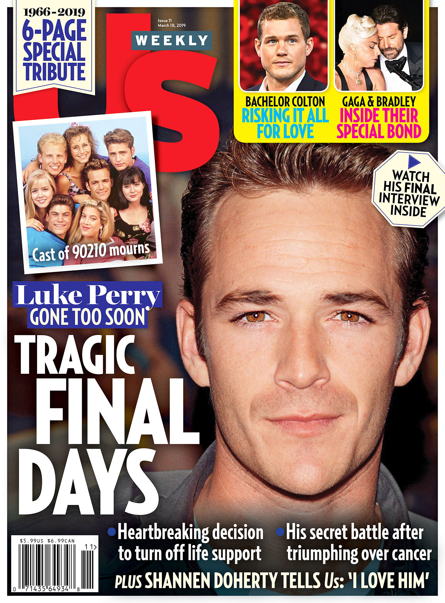 Us Weekly Cover Luke Perry Dead Bradley Cooper, Lady Gaga 'Really Got Into' Their A Star Is Born Roles: They Have 'Insane Chemistry' - UW1119 Us Weekly Cover Luke Perry Dead