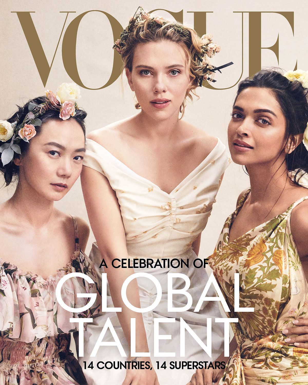 Colin Jost Who? Scarlett Johansson Jokes She's Dating Her Doorman - Actors Doona Bae (in Dolce & Gabbana), Scarlett Johansson (in Marni), and Deepika Padukone (in Oscar de la Renta) appear on the April 2019 cover of Vogue.