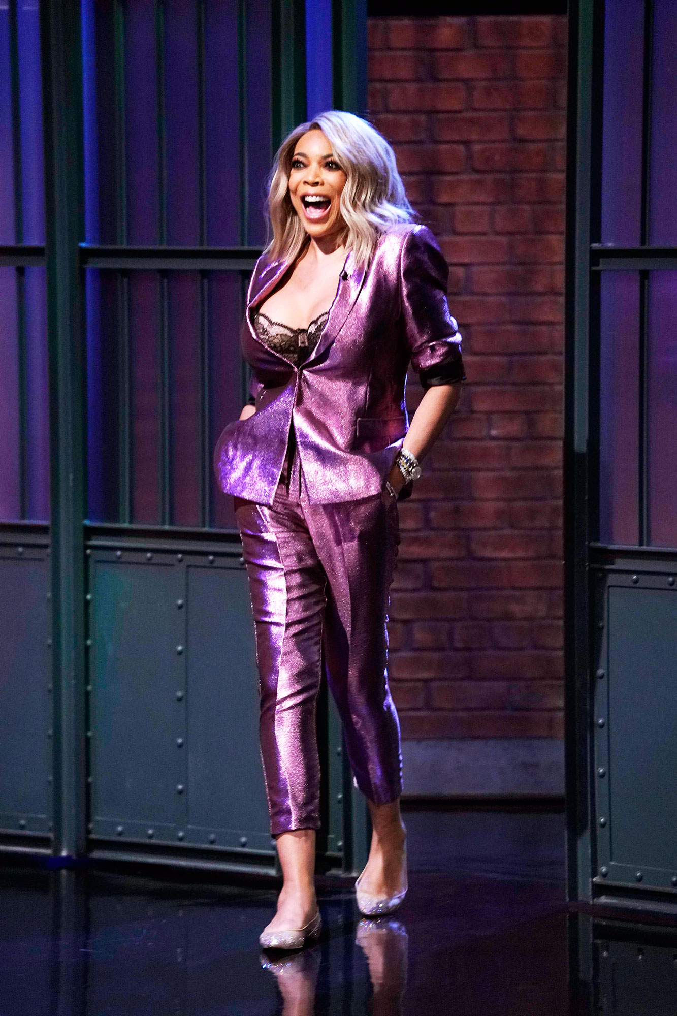 Wendy Williams Returns After 2-Month Hiatus - LATE NIGHT WITH SETH MEYERS — Episode 750 — Pictured: Talk show host, Wendy Williams arrives on October 30, 2018