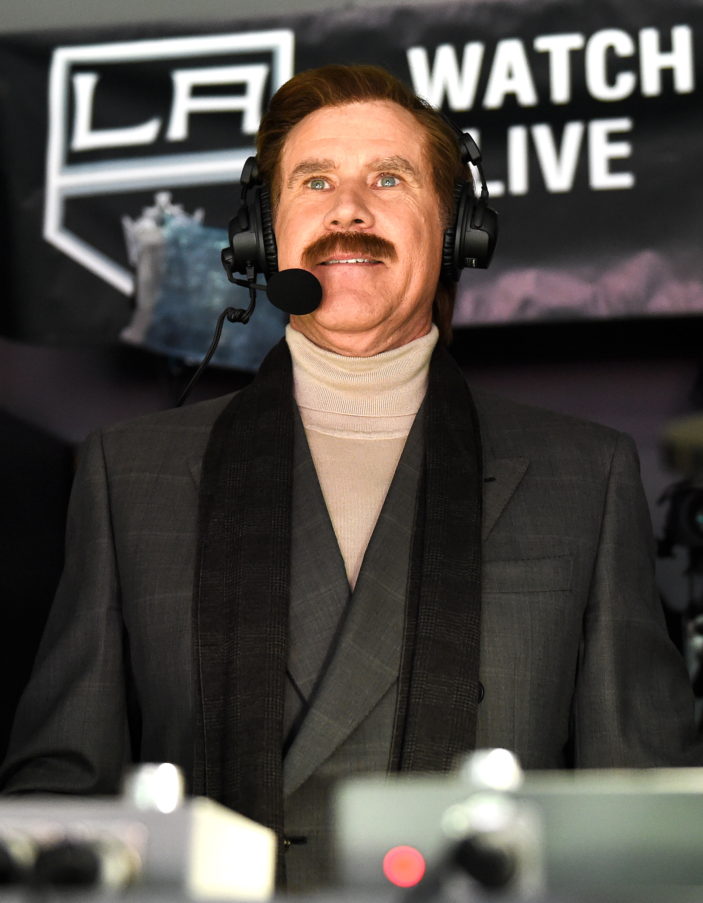 Stay Classy! Will Ferrell Revives Anchorman's Ron Burgundy Hockey Game - Will Ferrell, in character as Ron Burgundy, calls the game between the San Jose Sharks vs. the Los Angeles Kings at on March 21, 2019 in Los Angeles, California.