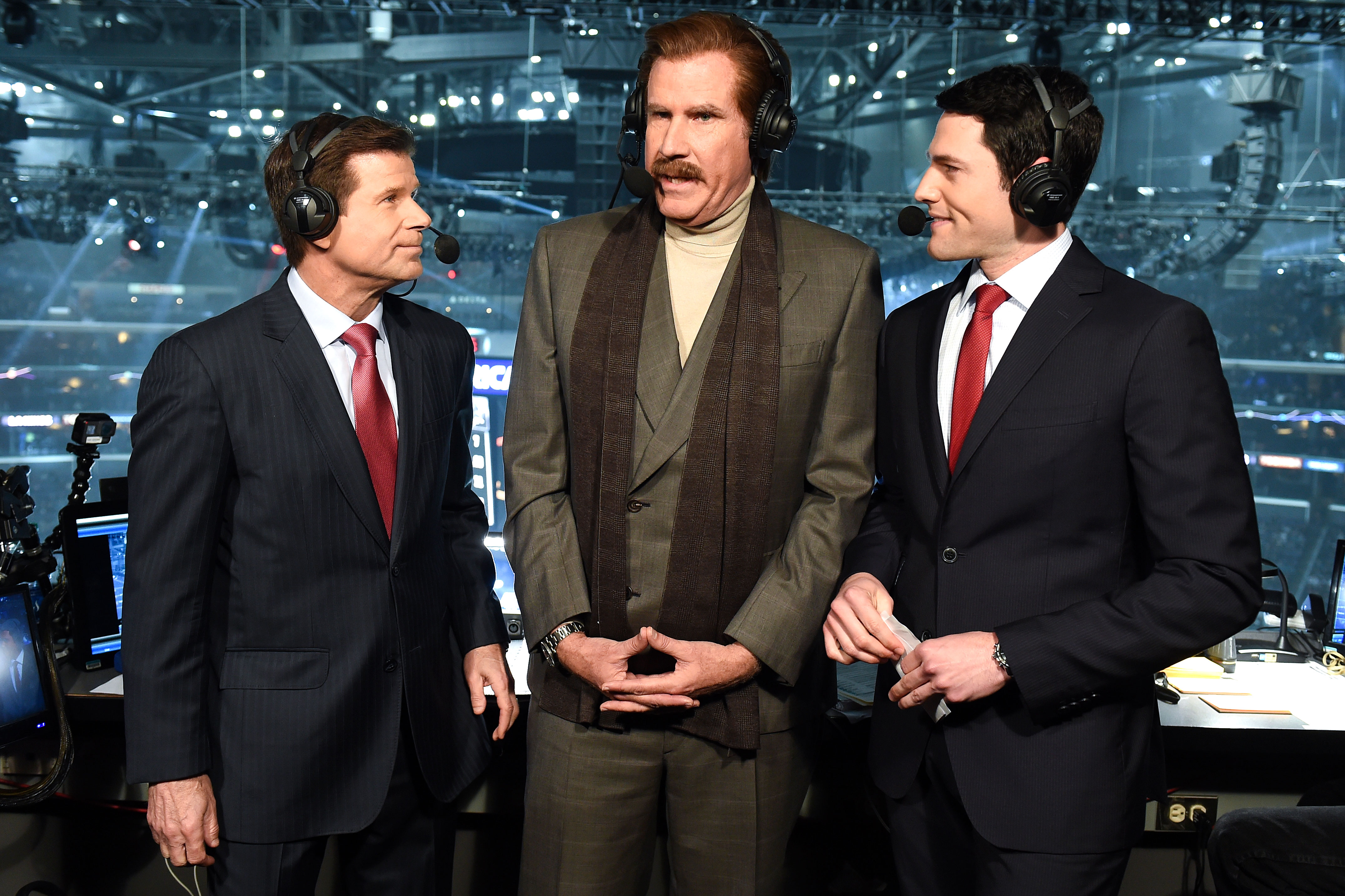 Stay Classy! Will Ferrell Revives Anchorman's Ron Burgundy Hockey Game - Will Ferrell, in character as Ron Burgundy, talks with Fox Sports West broadcasters Jim Fox, and Alex Faust, at the game between the San Jose Sharks vs. the Los Angeles Kings on March 21, 2019 in Los Angeles, California.