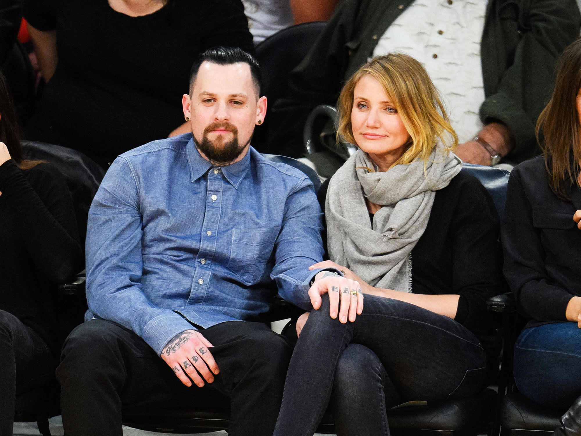 """A Timeline of Cameron Diaz and Benji Madden's Private Relationship - Multiple sources confirmed to Us in December 2014 that the Charlie's Angels actress and the rocker were engaged after seven months together . A source told Us at the time, """"Everyone thinks it's wild but are so happy for them. Benji always tends to fall in love easily, but this time it's for real and he landed a great girl. They obviously both make each other incredibly happy and there's nothing better than that."""""""