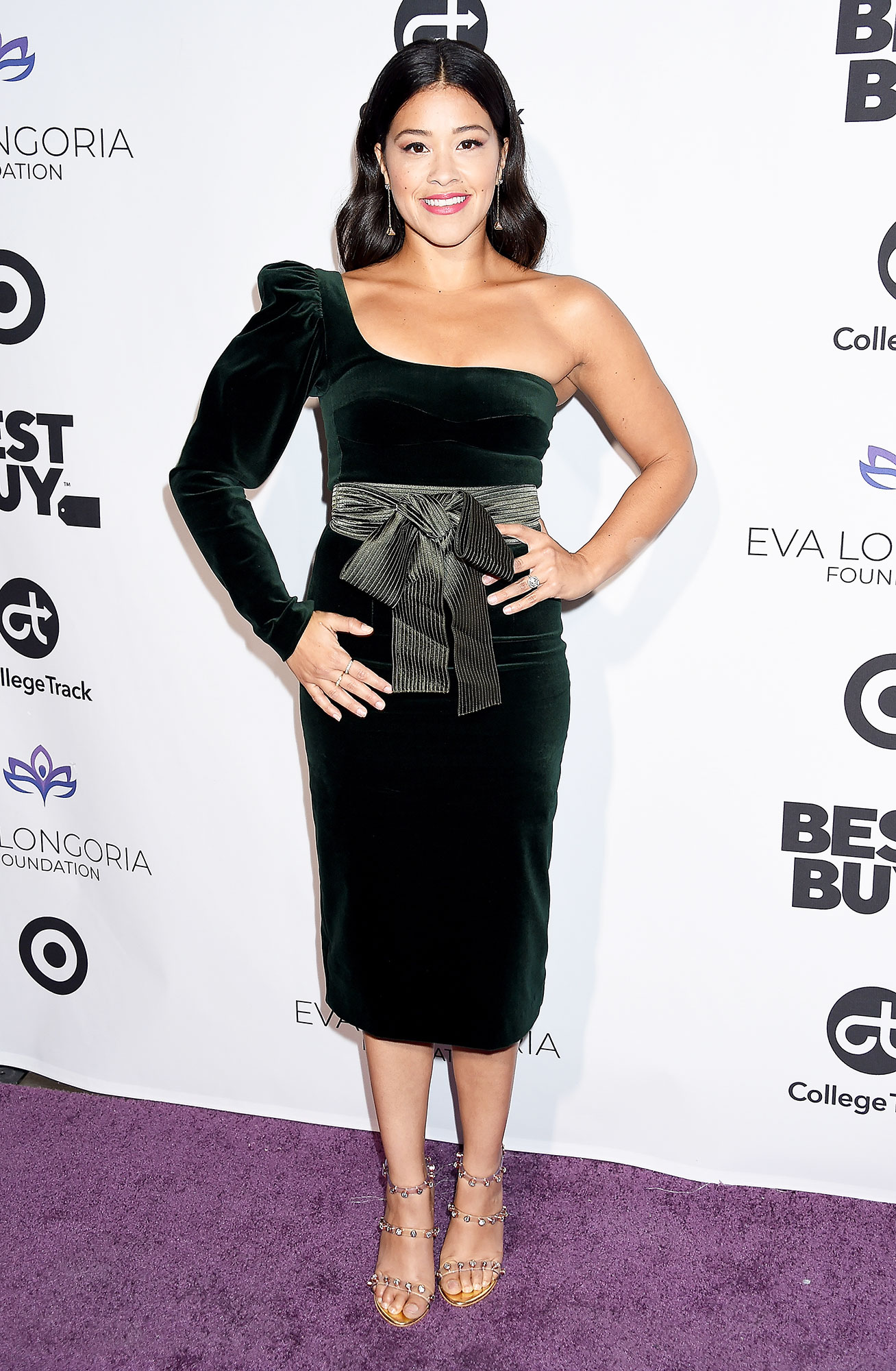 Gina Rodriguez Bows red carpet gallery for Stylish - In a velvet Silvia Tcherassi on Nov. 8.