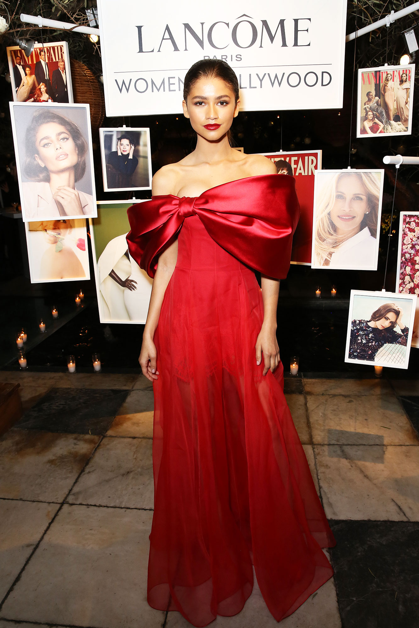 Zendaya Bows red carpet gallery for Stylish - In a strapless crepe, lace and organza Alexis Mabille on Feb. 21.