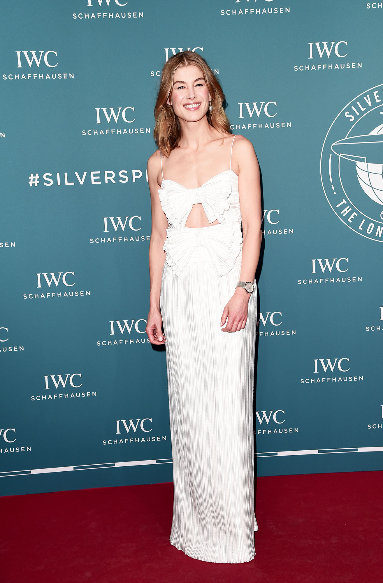 Rosamund Pike Bows red carpet gallery for Stylish - In a cutout polyester Givenchy on Jan. 15.