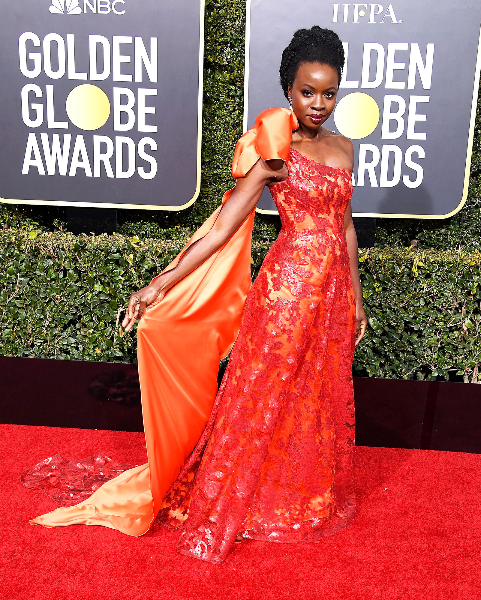 Danai Gurira Bows red carpet gallery for Stylish - In an embroidered Rodarte on Jan. 6.
