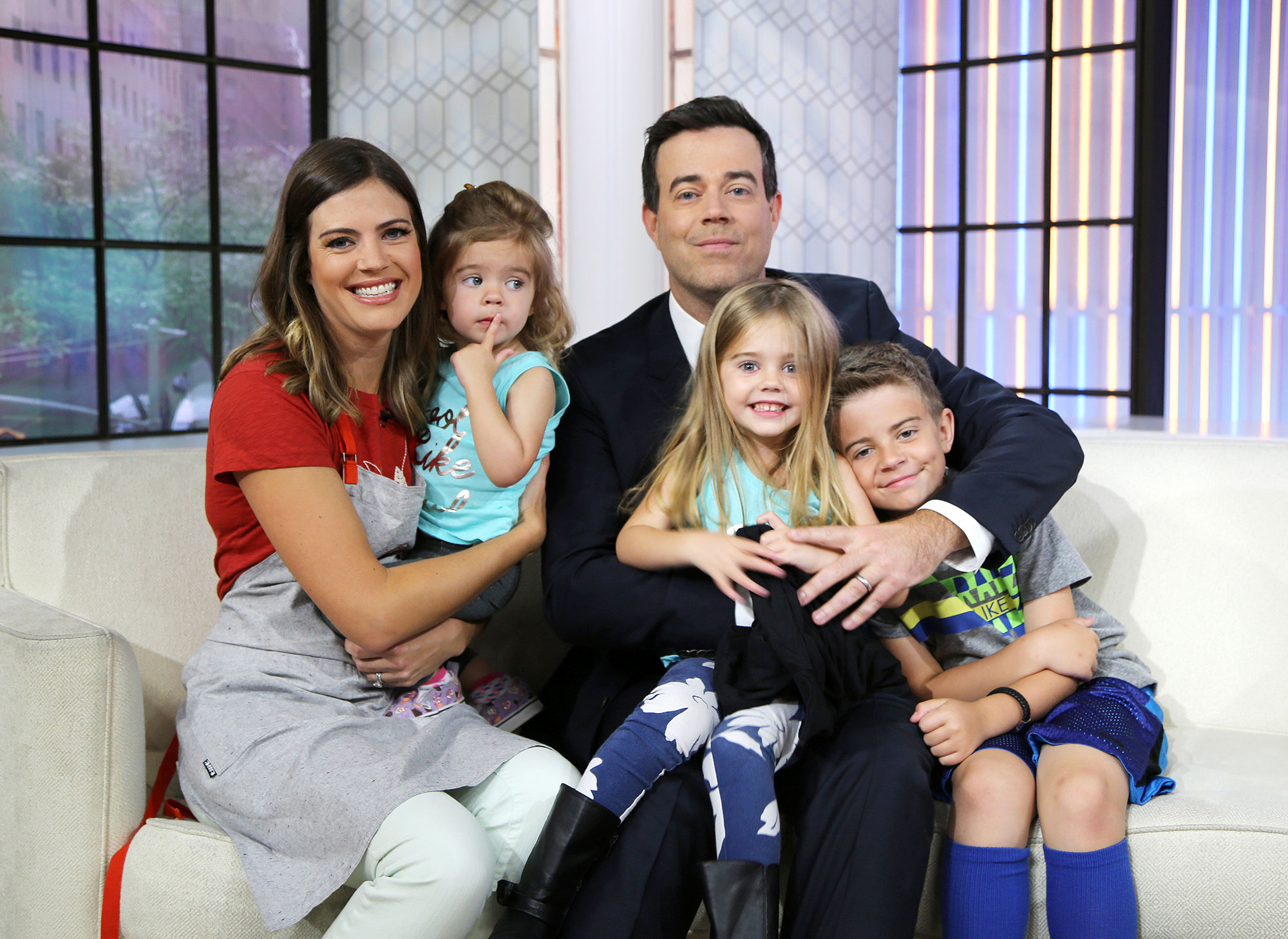 Carson Daly Reveals He Is 'Scared of Loving' His Three Kids Too Much - (L-R) Siri Daly, London Rose, Carson Daly, Etta Jones, and Jackson James on Thursday, June 8, 2017.
