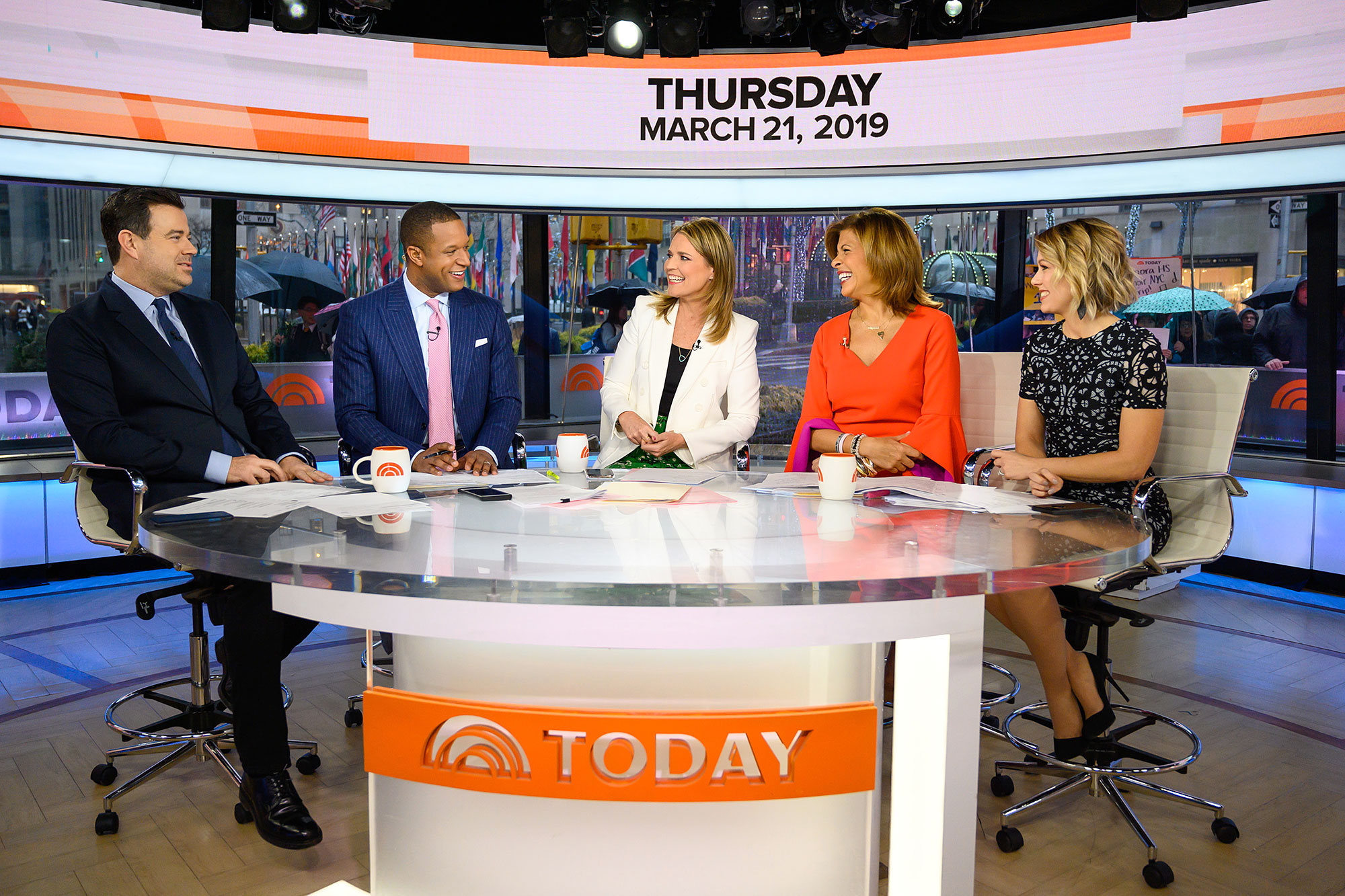 Carson Daly Reveals He Is 'Scared of Loving' His Three Kids Too Much - Carson Daly, Craig Melvin, Savannah Guthrie, Hoda Kotb and Dylan Dreyer on Thursday, March 21, 2019.