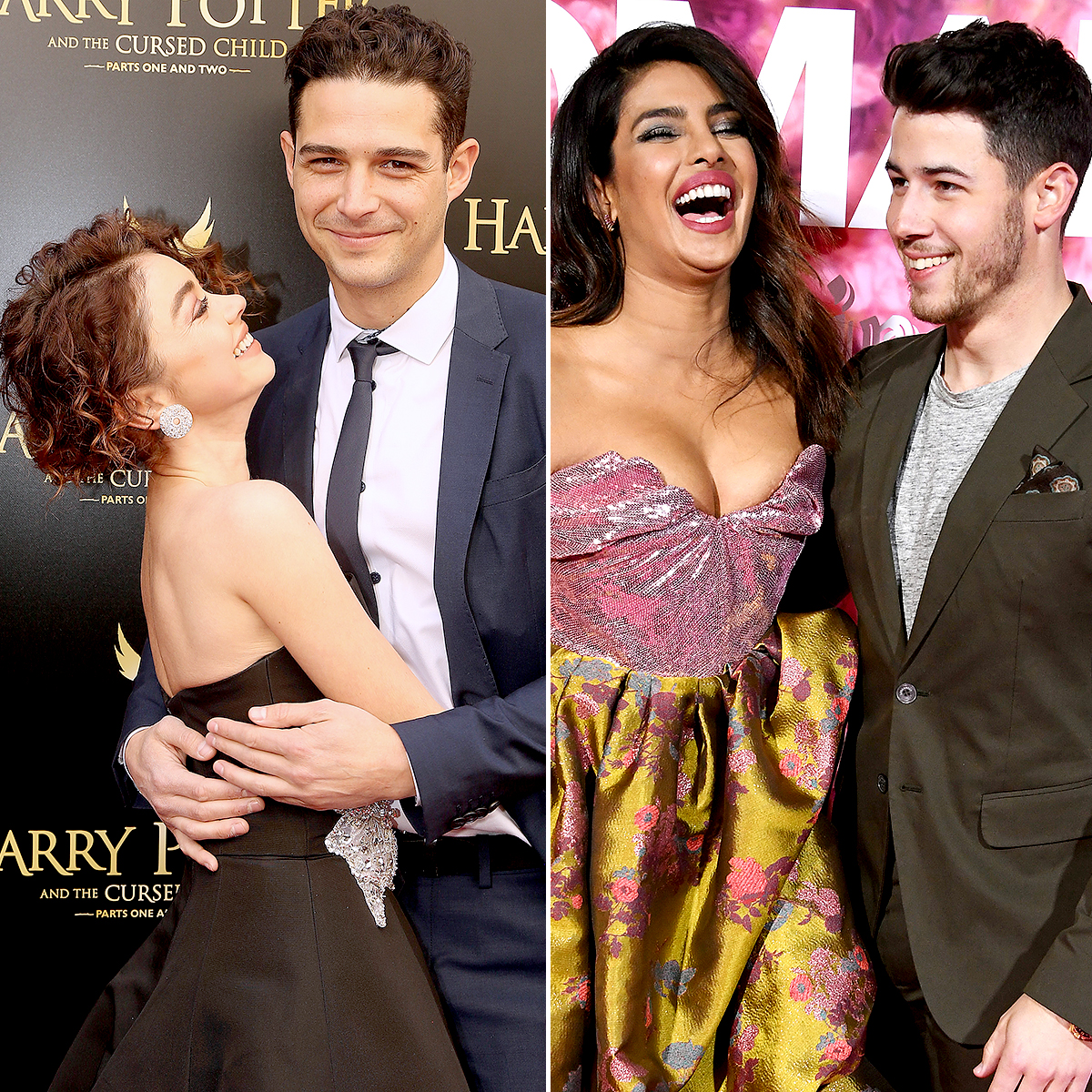 "couples-that-met-on-social-media - NEW YORK, NY – APRIL 22: Sarah Hyland and boyfriend Wells Adams pose at ""Harry Potter and The Cursed Child parts 1 & 2"" on Broadway opening night at The Lyric Theatre on April 22, 2018 in New York City. (Photo by Bruce Glikas/Bruce Glikas/FilmMagic)"