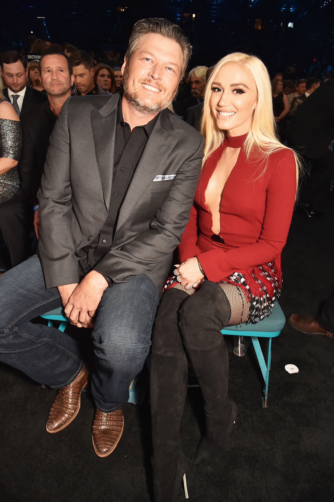 "Gwen-Stefani-blake-shelton-sweetest - During Shelton's performance at the ACM's, the ""Underneath It All"" crooner, who went as his date, was caught on camera singing along to his hit ""I Lived It."""
