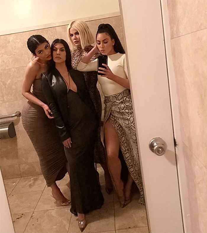(From left to right) Kylie Jenner, Kourtney Kardashian, Khloe Kardashian and Kim Kardashian The Kardashian-Jenner Sisters Had the Sexiest Girls Night Out Because Of Course