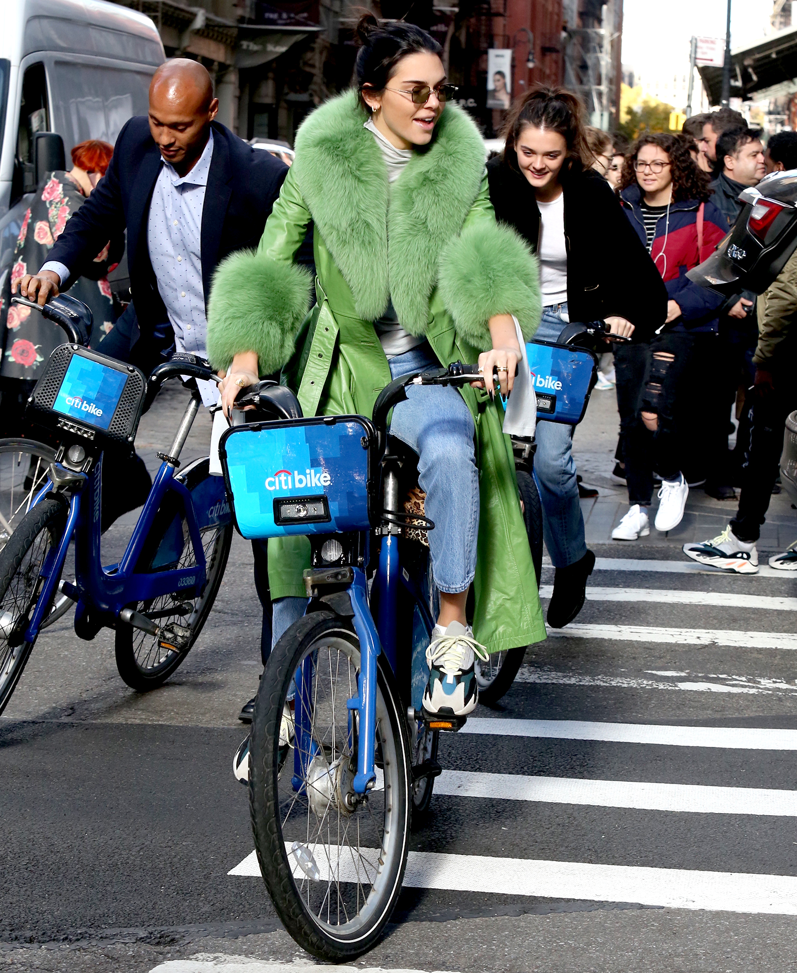 kendall-jenner-biking - The model led her bodyguard and a friend through the Soho neighborhood of NYC on a Citi Bike on November 3, 2018.