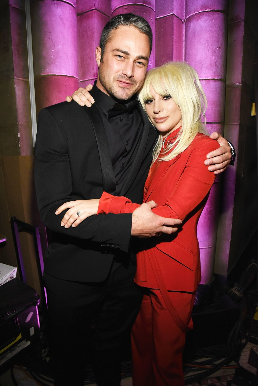 Taylor Kinney (L) and Lady Gaga