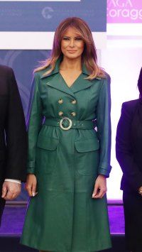 Melania Trump Adds a Green Leather Dress to Her All-Time Best Looks
