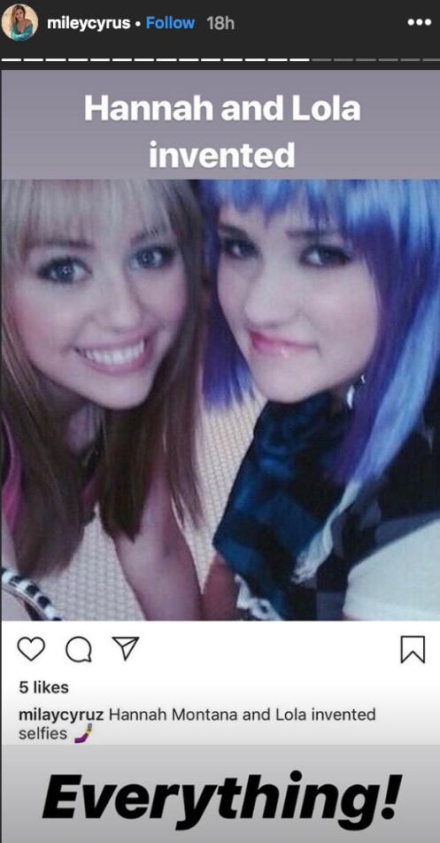 """miley-cyrus-emily-osment - The Disney alum gave a shout-out to her former Hannah Montana costar with a sweet photo of their characters dressed up as their alter egos. """"Hannah and Lola invented everything!"""" she wrote."""