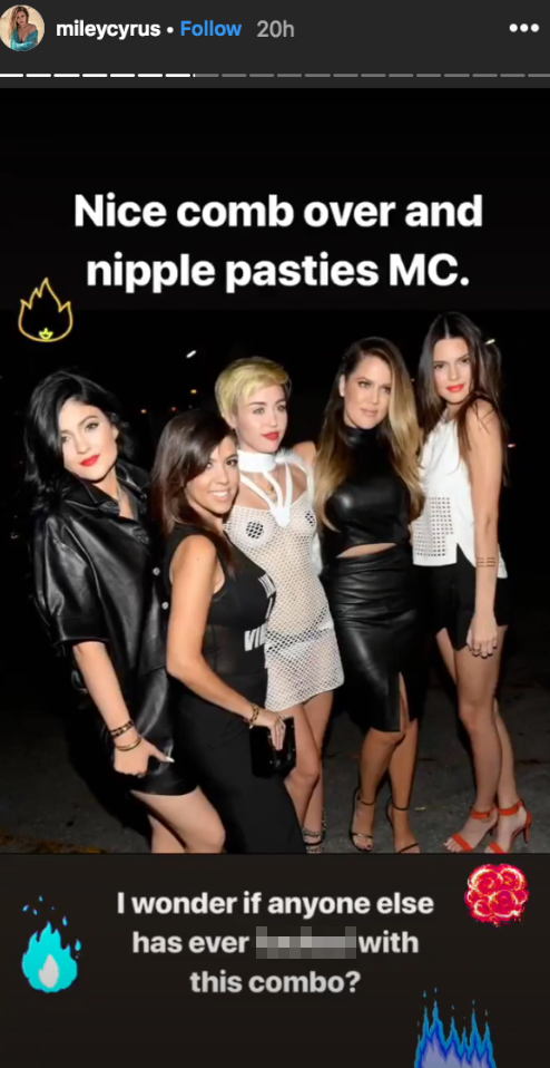 """miley-cyrus-kardashians-jenners - The """"Wrecking Ball"""" singer poked fun at her ensemble while posing with the KarJenner sisters. """"Nice comb over and nipple pasties MC,"""" she wrote."""