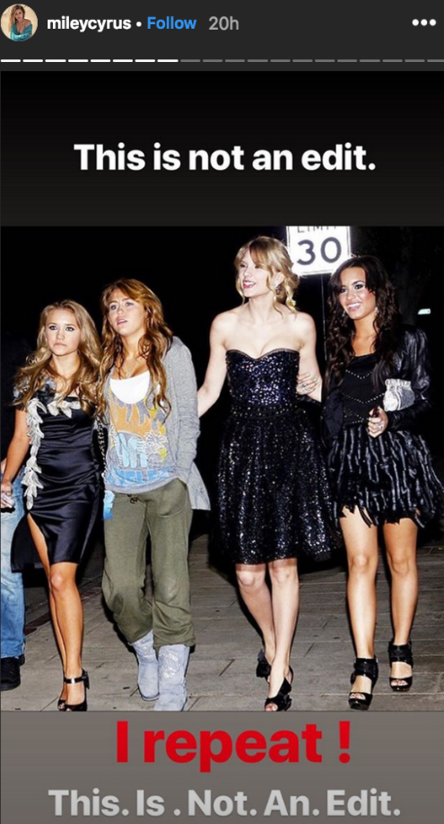 """miley-cyrus-taylor-swift-selena-gomez - Cyrus and her girl gang were all smiles while walking together back in the day. """"This is not an edit,"""" she wrote."""