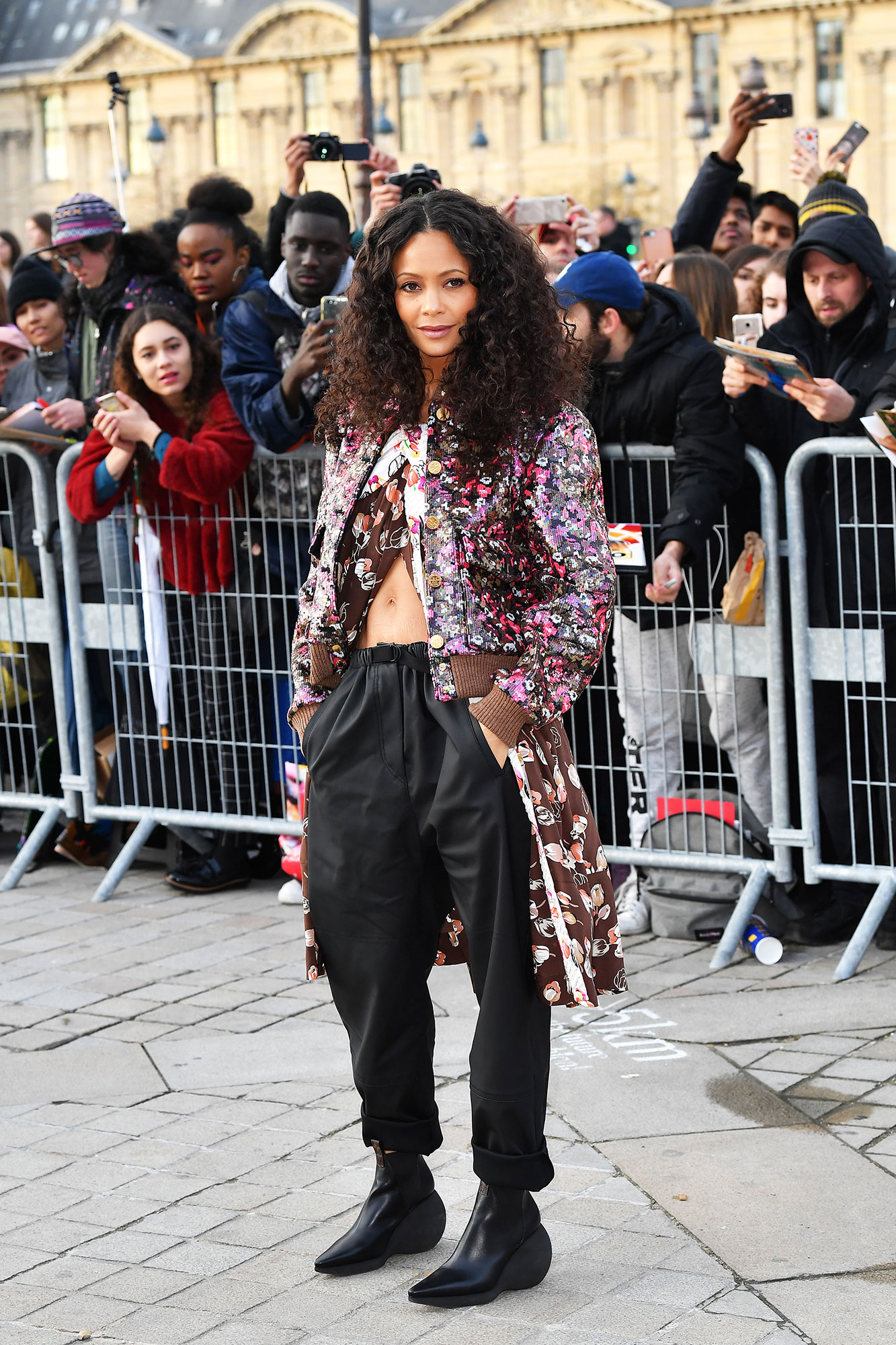 Thandie Newton Stars Closed Out Paris Fashion Week on a Sartorial High Note - The Westworld star flashed her abs in a layered floral look outside the Louis Vuitton show on Tuesday, March 5.