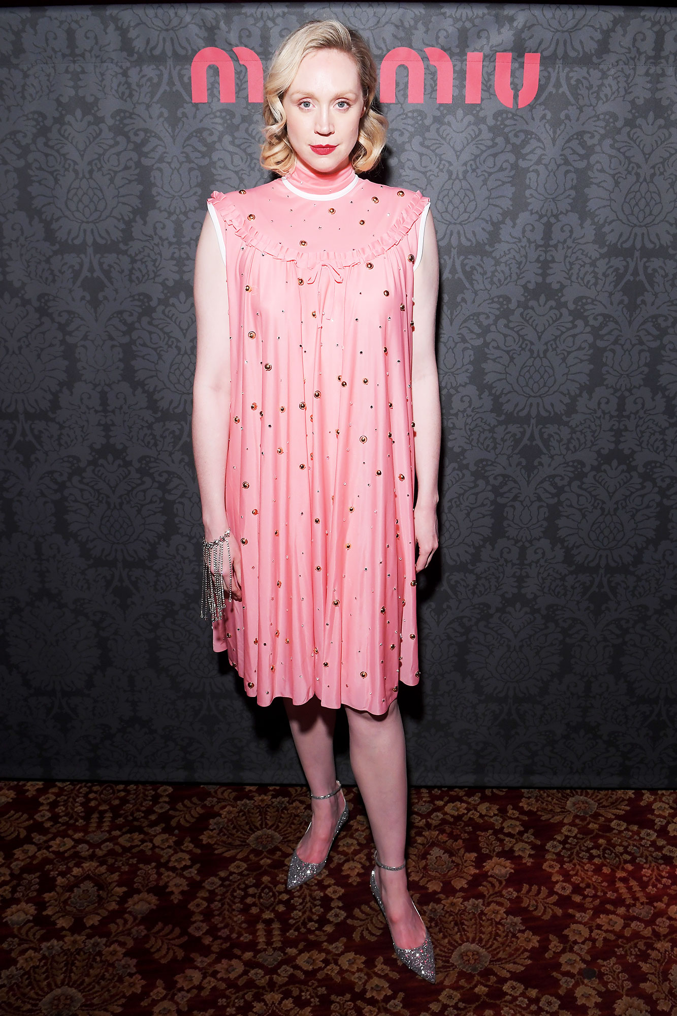 Gwendoline Christie Stars Closed Out Paris Fashion Week on a Sartorial High Note - The Game of Thrones star was thinking pink in an embellished mini at the Miu Miu party on Tuesday, March 5.