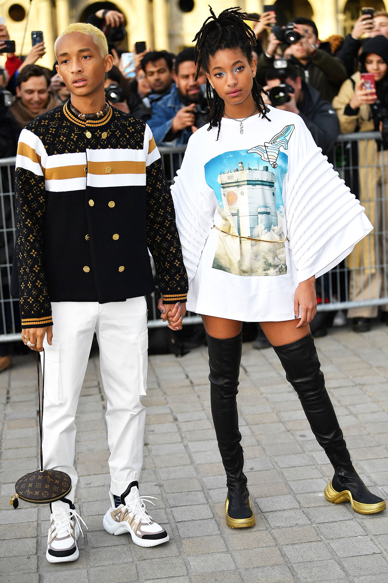 Jaden Smith Stars Closed Out Paris Fashion Week on a Sartorial High Note - The ever-stylish siblings looked super cool in their Moon Boot-inspired footwear at Louis Vuitton on Tuesday, March 5.