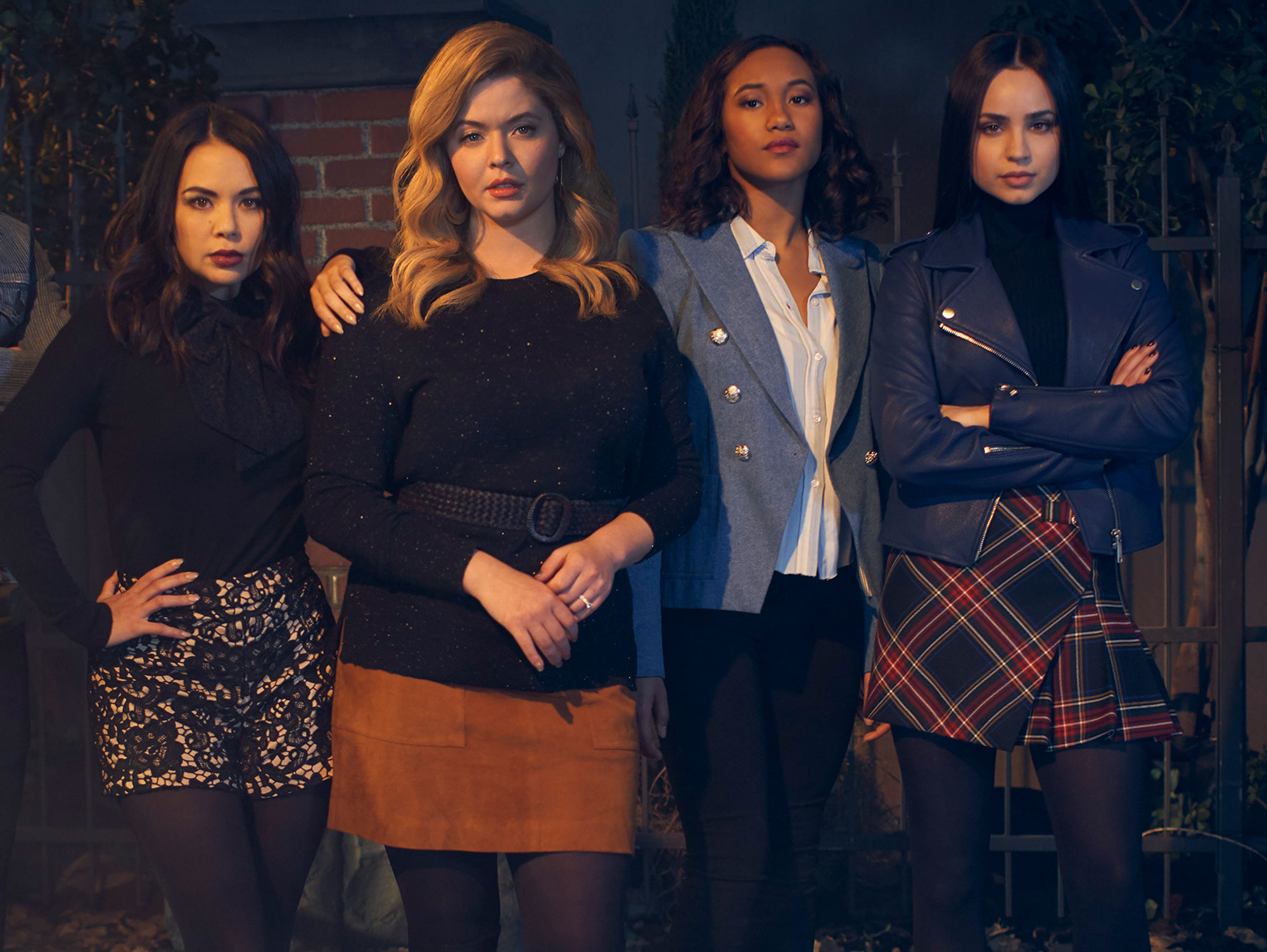 """Janel Parrish as Mona, Sasha Pieterse as Alison, Sydney Park as Caitlin, and Sofia Carson as Ava. Pretty Little Liars Fans Can Get a Free Makeup Application to Celebrate New Series The Perfectionists - Freeform's """"Pretty Little Liars: The Perfectionists"""" staring Janel Parrish as Mona, Sasha Pieterse as Alison, Sydney Park as Caitlin, and Sofia Carson as Ava."""