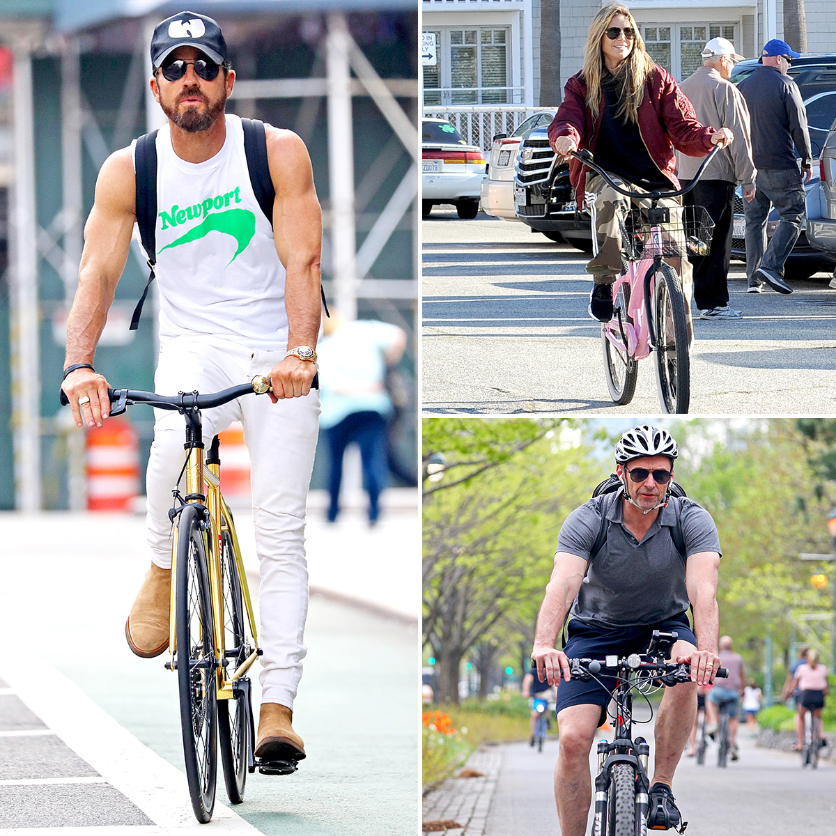 stars-who-bike - Stars on bikes! Forget fancy car services, taxis and Ubers — when it comes to getting around a city or going from point A to point B, plenty of celebrities use their own two legs to bicycle through the streets.