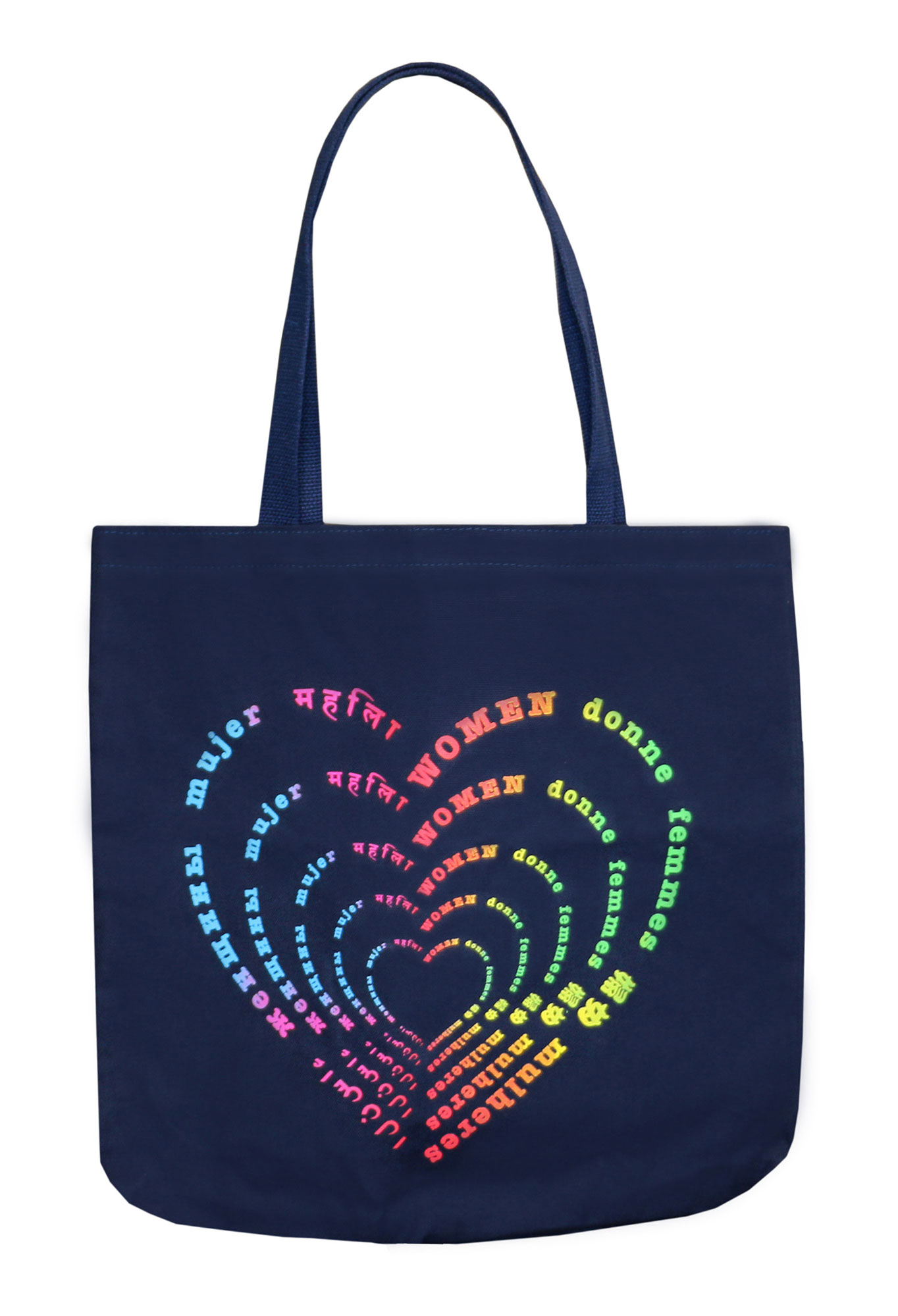 """Women's History Month Gallery - This colorful carry-all features the word """"women"""" written in multiple languages, and 100% of the proceeds benefit the World of Children organization to change the future of the world's most vulnerable kids. $40, rachelroy.com"""