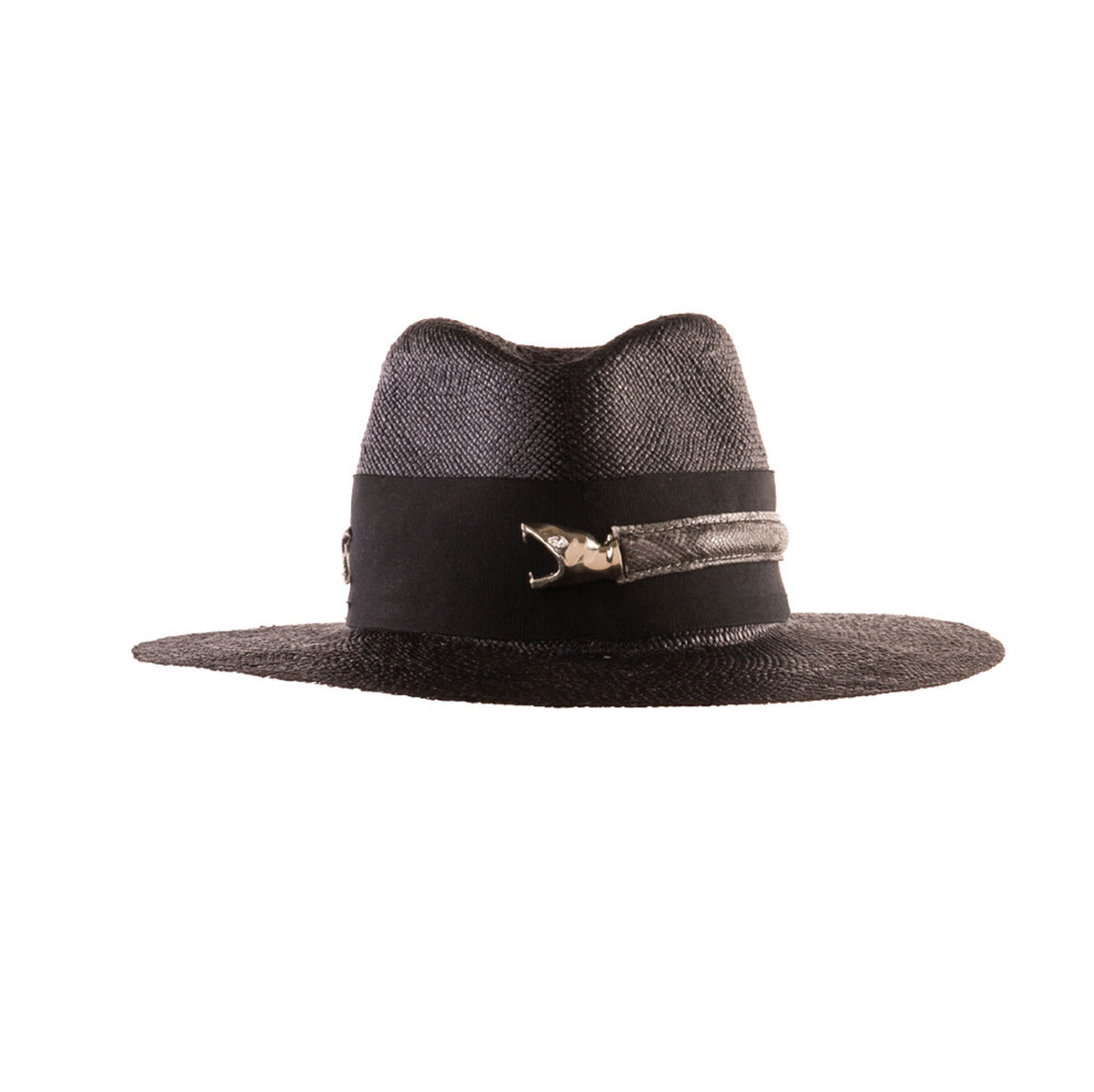 7 Black Panama Hats Inspired by Gigi Hadid¹s Œ90s Wedding Style - Take a cue from Gigi Hadid with this hand-stitched snake-adorned topper. $600, yousseflahlou.com