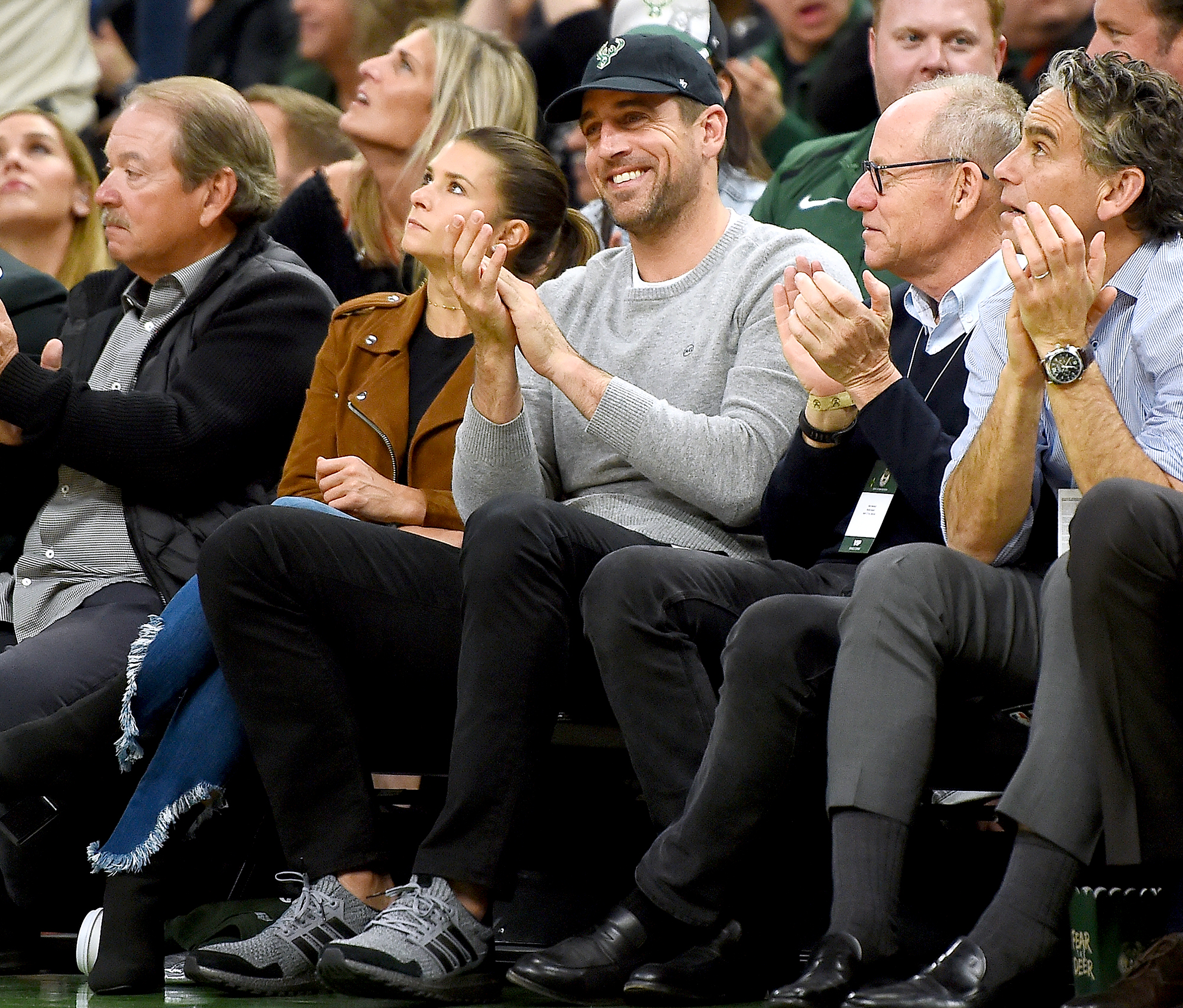 Aaron-Rodgers-Basketball-Game-Danica-Patrick - Green Bay Packers quarterback Aaron Rodgers and Danica Patrick attend Game Two of the first round of the 2019 NBA Eastern Conference Playoffs.